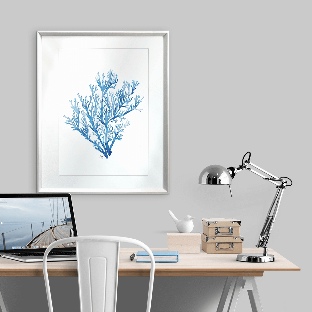 Framed Coral Art Prints Throughout Trendy Delicate Coral Reef I In Indigo – Karibou Art Co (View 10 of 15)