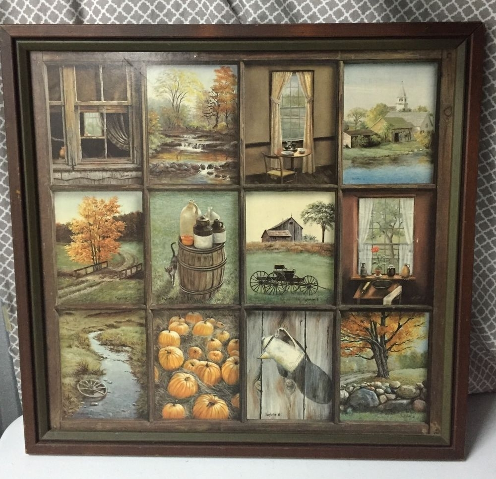 Framed Country Art Prints Pertaining To Well Known Home Interior B Mitchell Fall Harvest Vintage Wood Framed Print (Gallery 11 of 15)