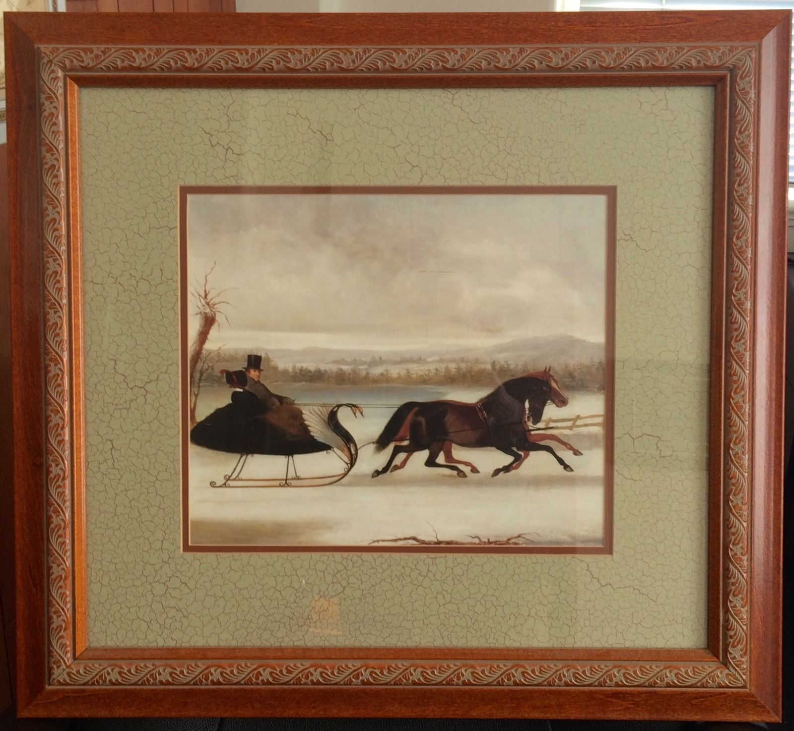 Framed Double Matted Art Print With Horses And Swan Sleigh (View 6 of 15)