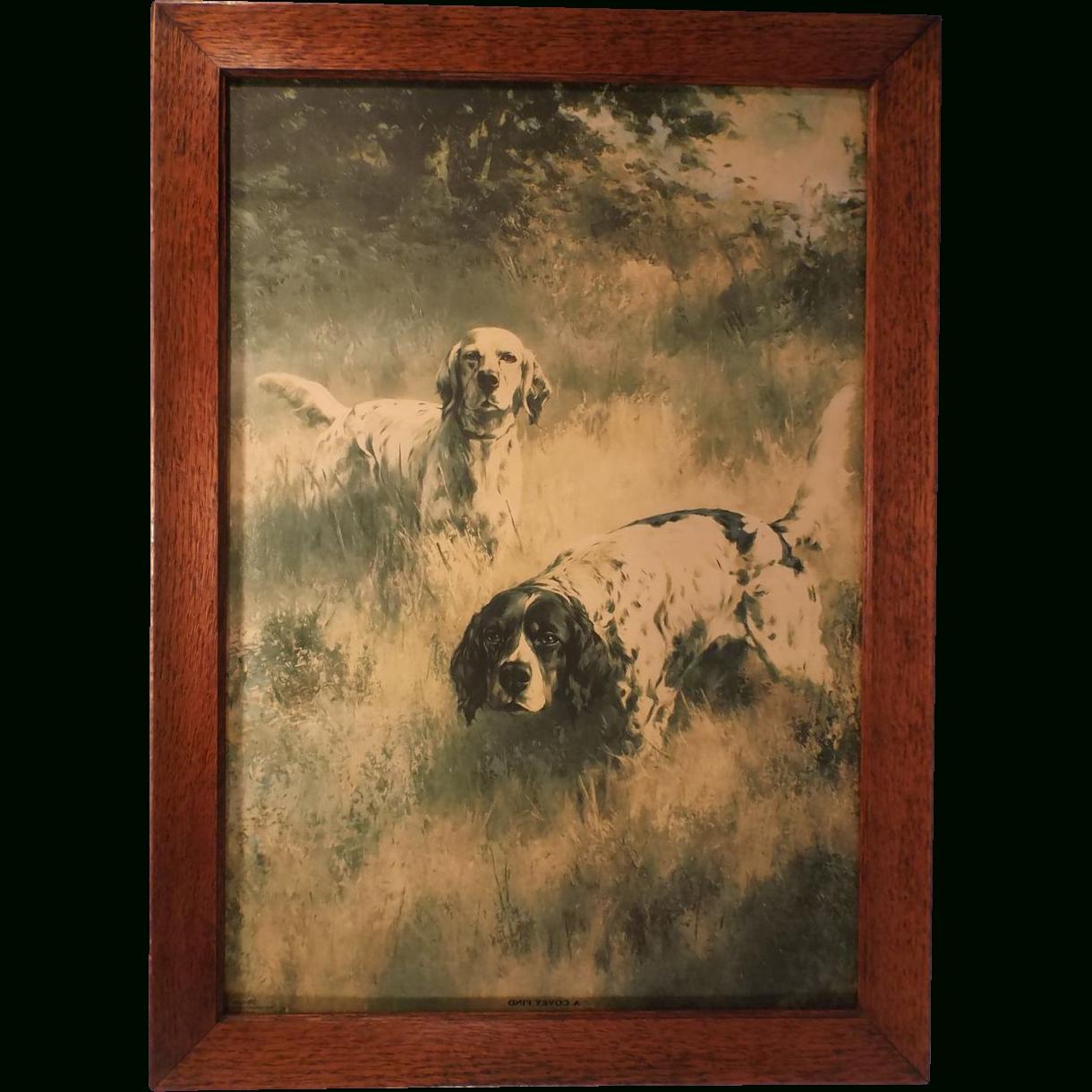 Framed Fine Art Prints Inside Popular A Covey Find, Vintage Fine Art Framed Hunting Dog Print, Percival (View 6 of 15)
