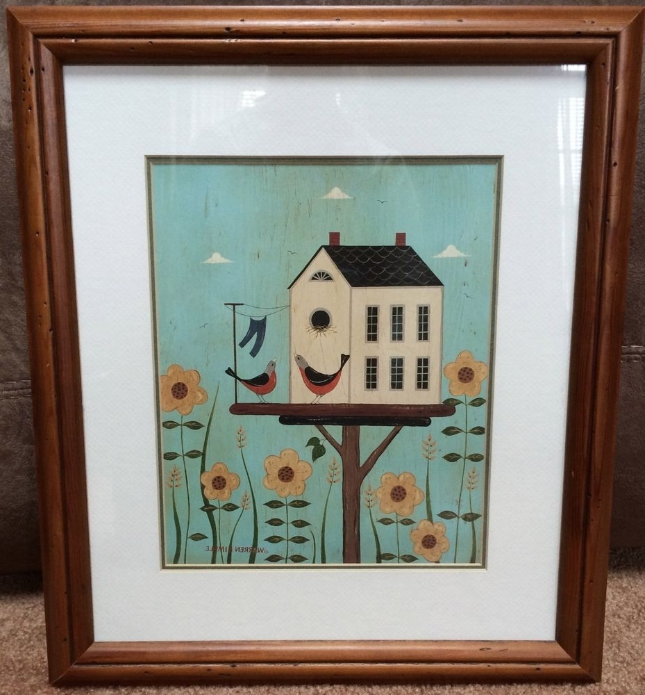"Framed Folk Art Prints Regarding Best And Newest Warren Kimble Framed Art Print Birds Birdhouse Country Decor 14"" X (View 6 of 15)"