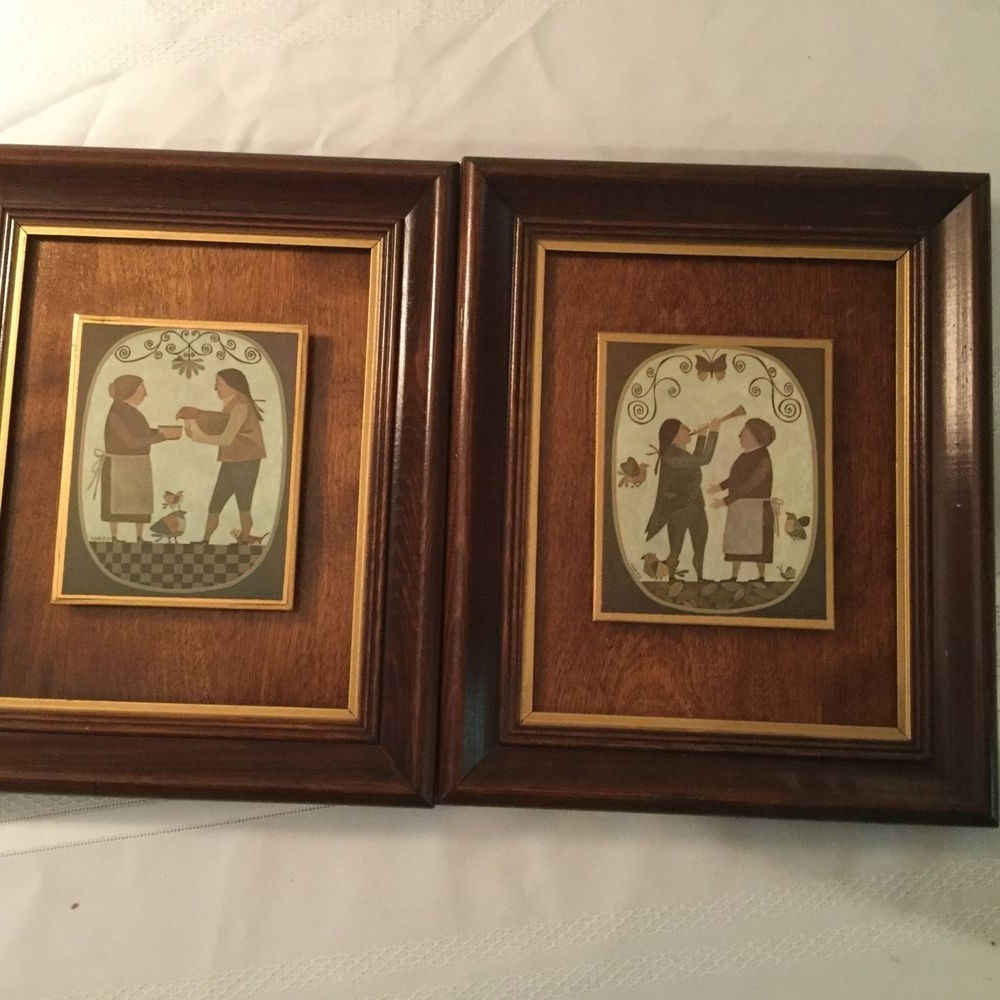 Framed Folk Art Prints Throughout Well Liked Pair Of R Davey Primitive Prints Wood Panel Backing Framed Peck (View 7 of 15)