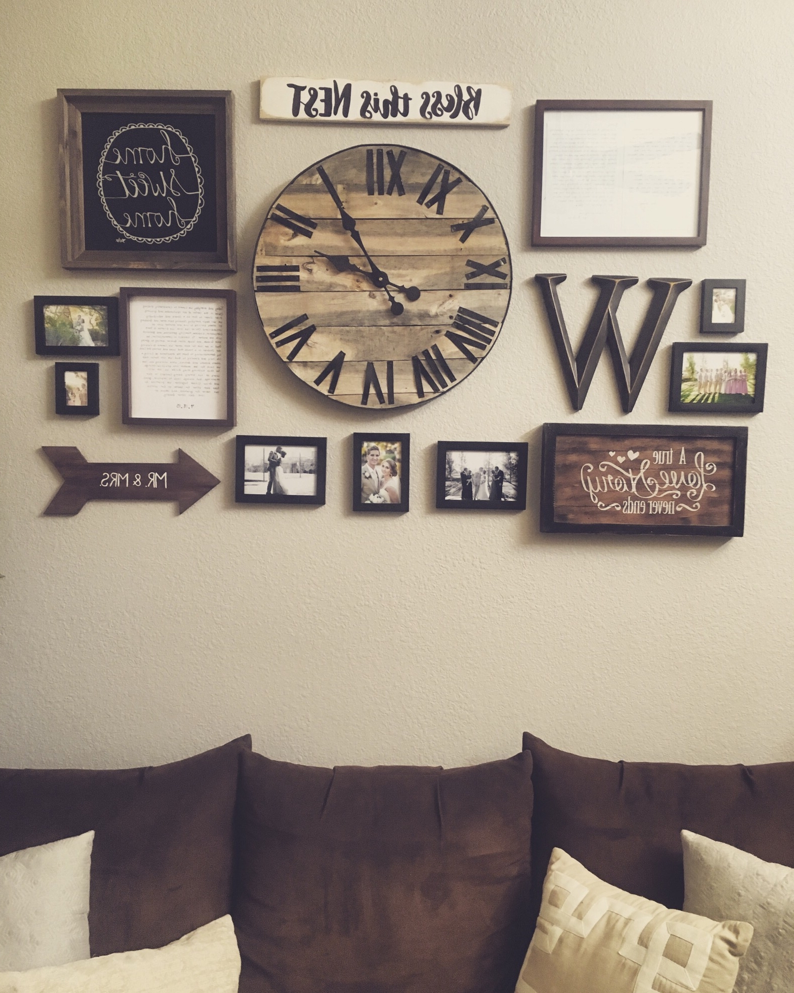 Gallery Wall With Handmade Pallet Clock Http://hubz/98/this In Well Known Clock Wall Accents (View 9 of 15)