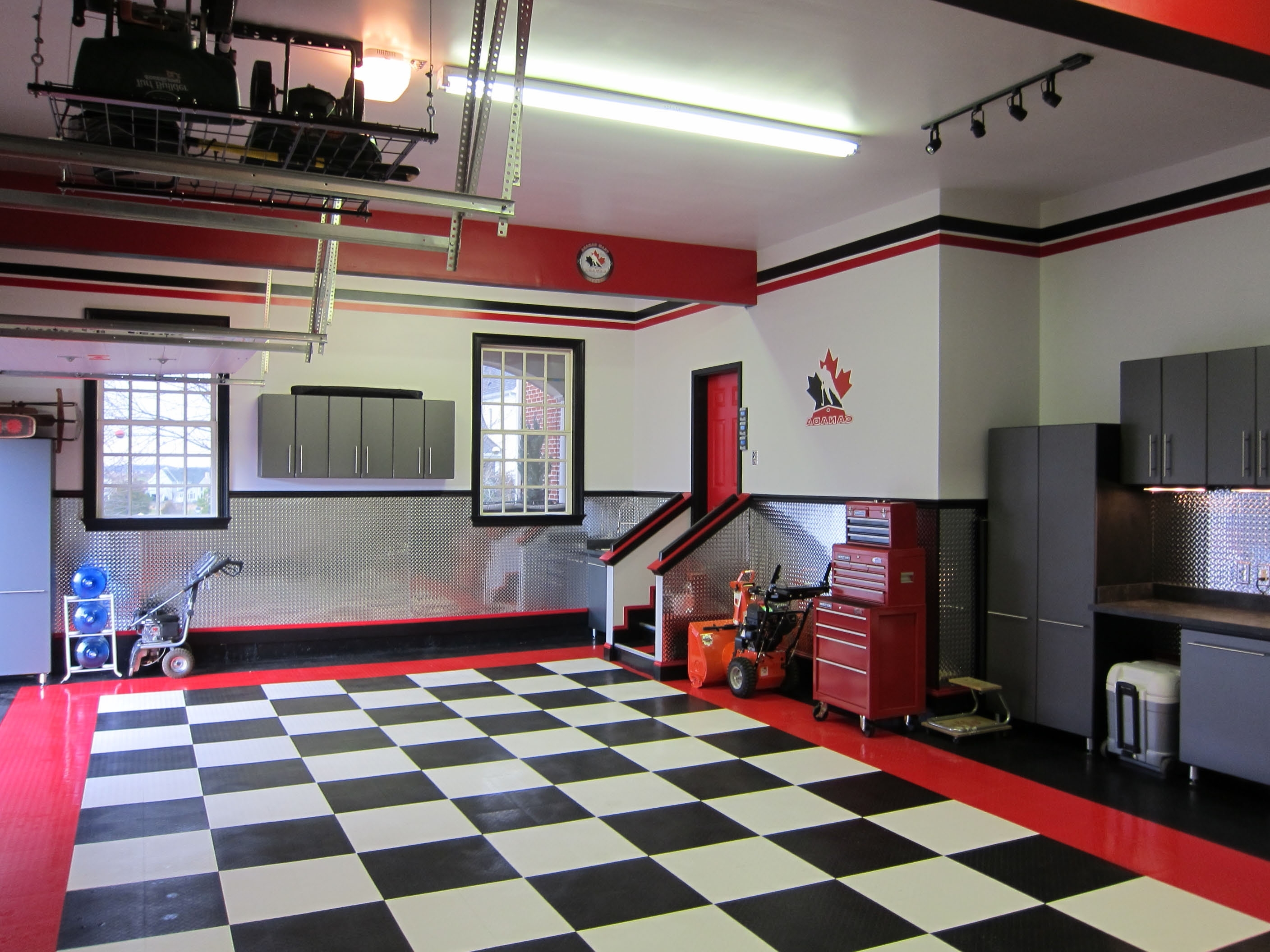 Garage Wall Accents Pertaining To Most Current Modern Garage Decors With Cool Checkered Floor Tiled Ideas With (Gallery 5 of 15)