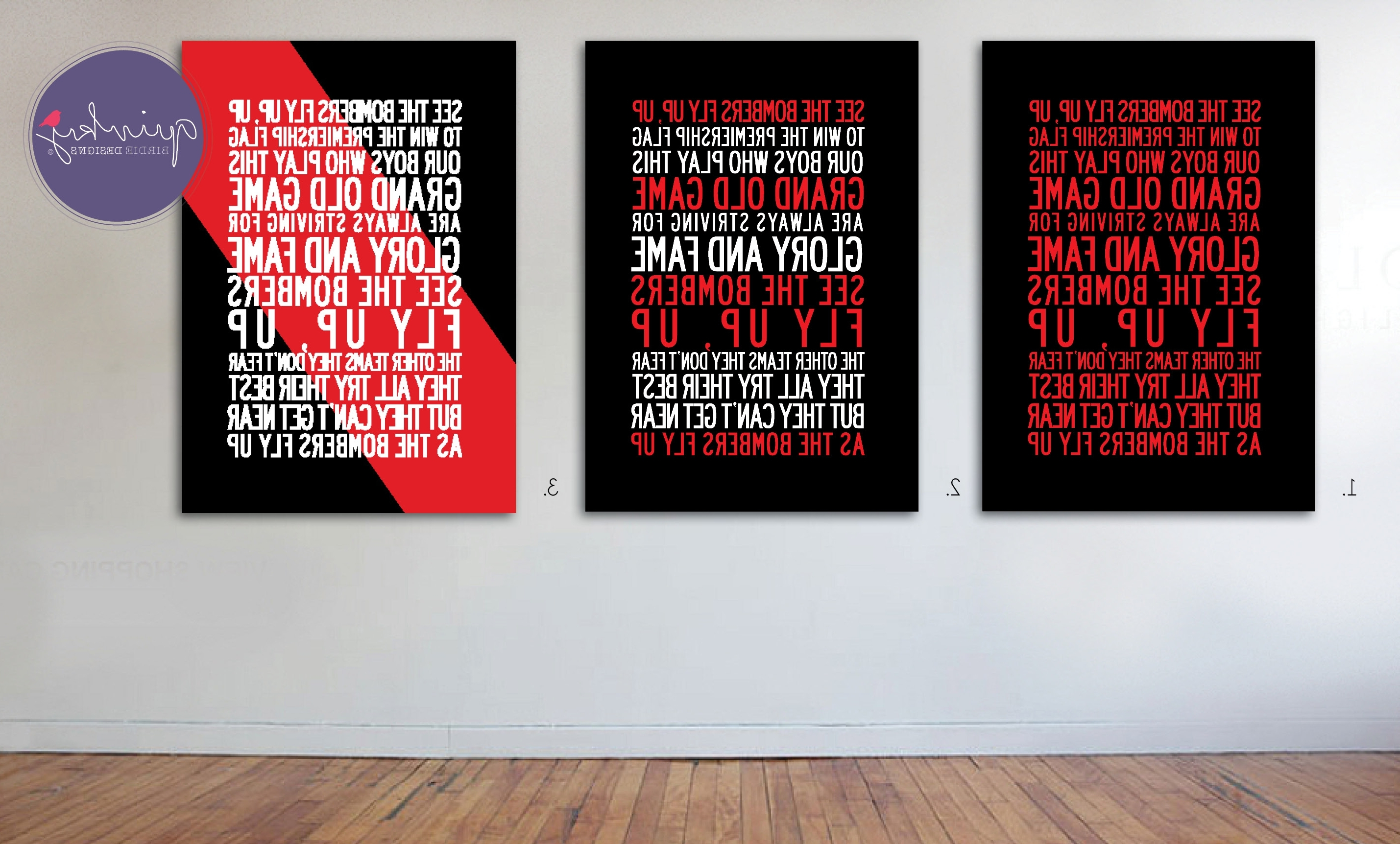 Geelong Canvas Wall Art Inside Favorite Essendon Bombers Team Anthem – Printable Digital Design, Custom (View 5 of 15)