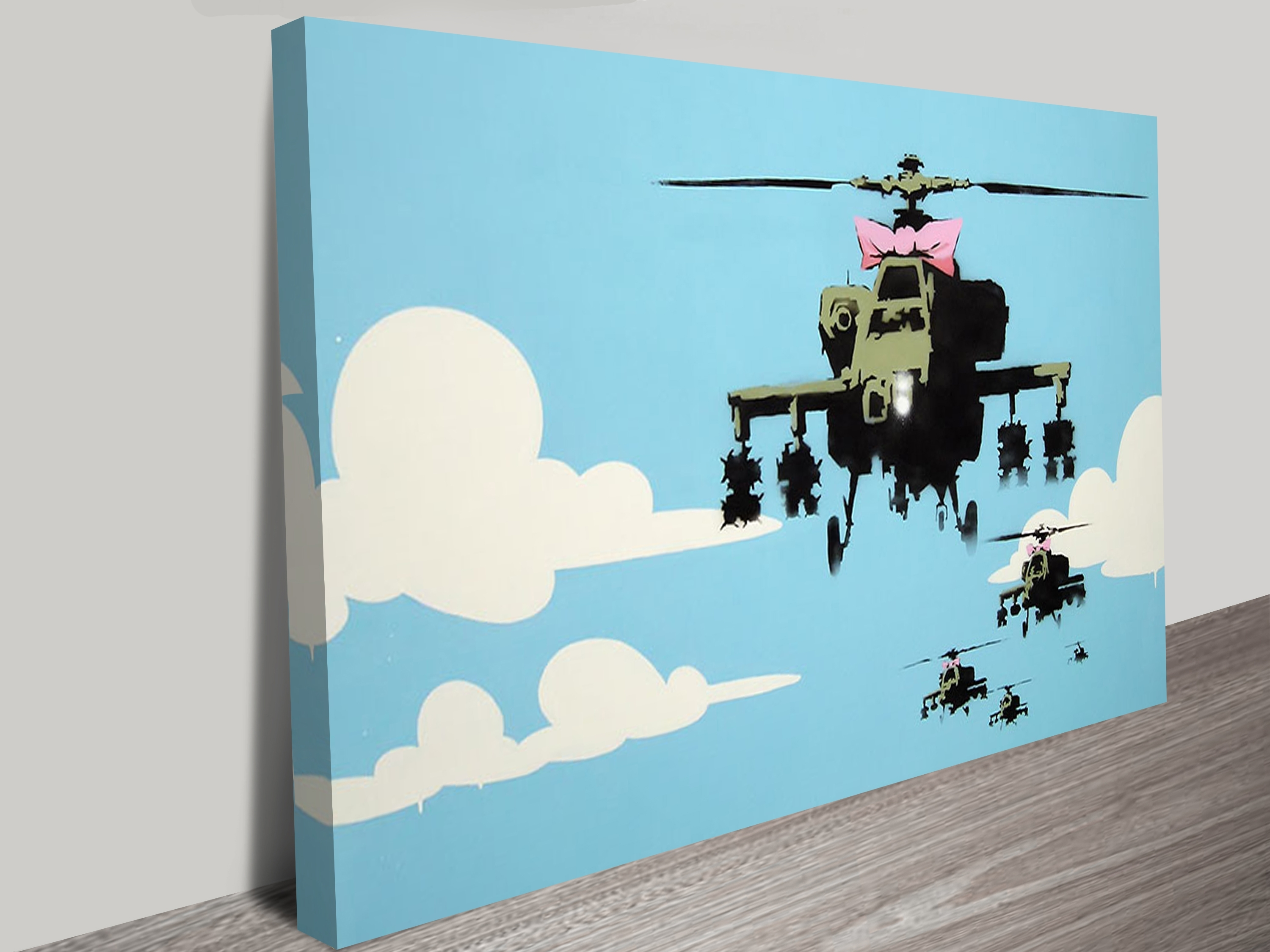 Geelong Canvas Wall Art With Fashionable Happy Copters Banksy Artwork On Canvas Geelong Australia (Gallery 12 of 15)