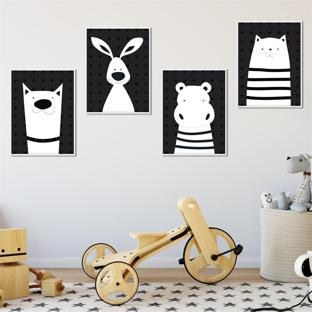Geelong Canvas Wall Art Within Well Liked Black White Animal Cat Bear Nursery Canvas Posters And Prints Wall (View 8 of 15)