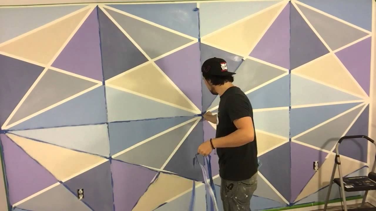 Geometric Wall Paint – Youtube Intended For Current Geometric Shapes Wall Accents (View 6 of 15)