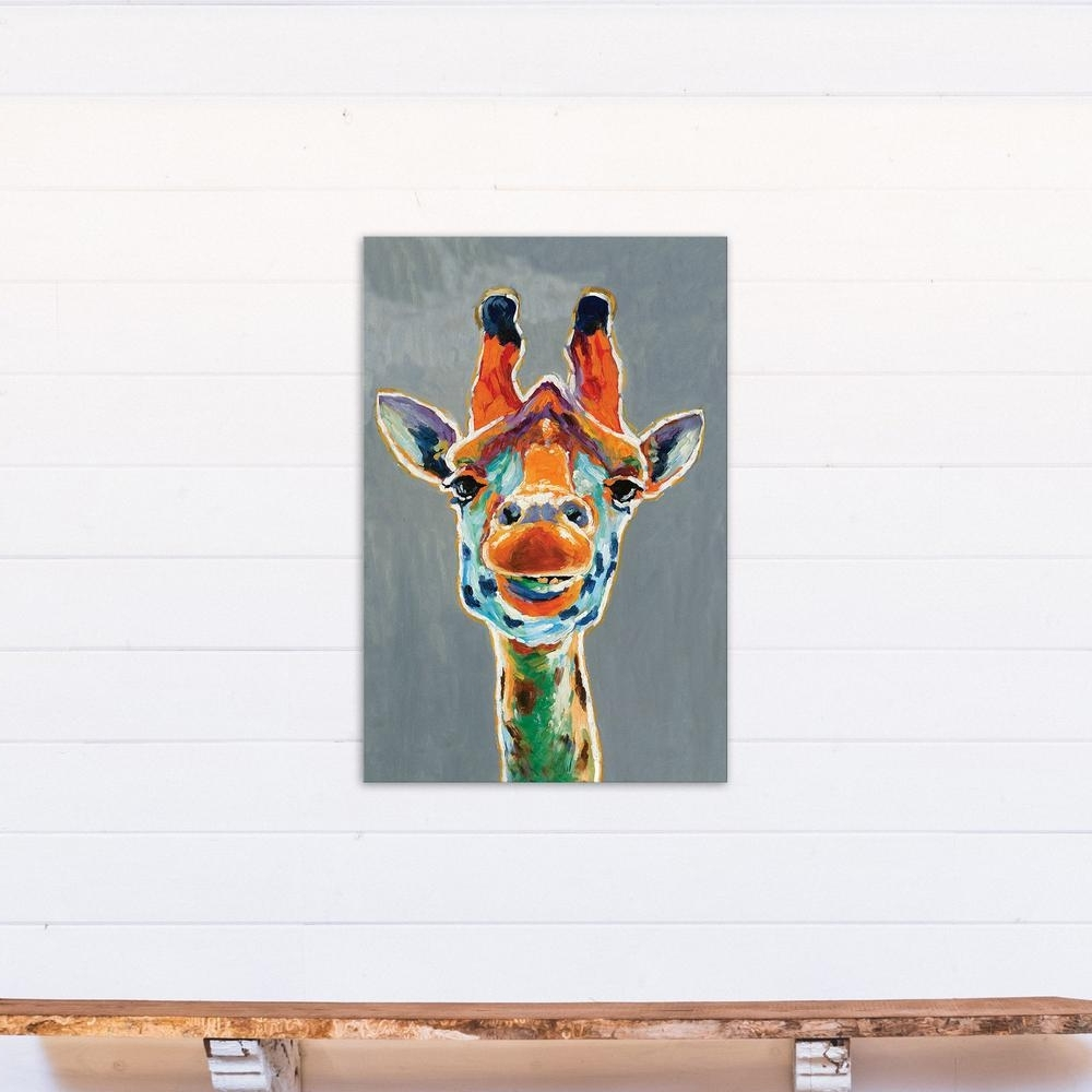 Giraffe Canvas Wall Art Within Newest Designs Direct 36 In. X 24 In. Abstract Colorful Giraffe Printed (Gallery 9 of 15)