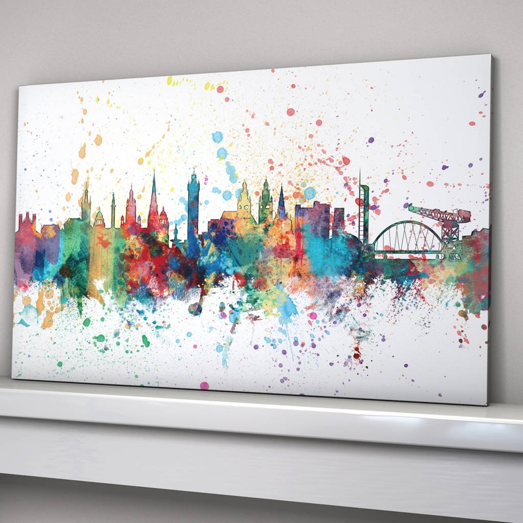 Glasgow Skyline Cityscape Paint Splashes Printartpause Pertaining To Well Known Glasgow Canvas Wall Art (View 5 of 15)