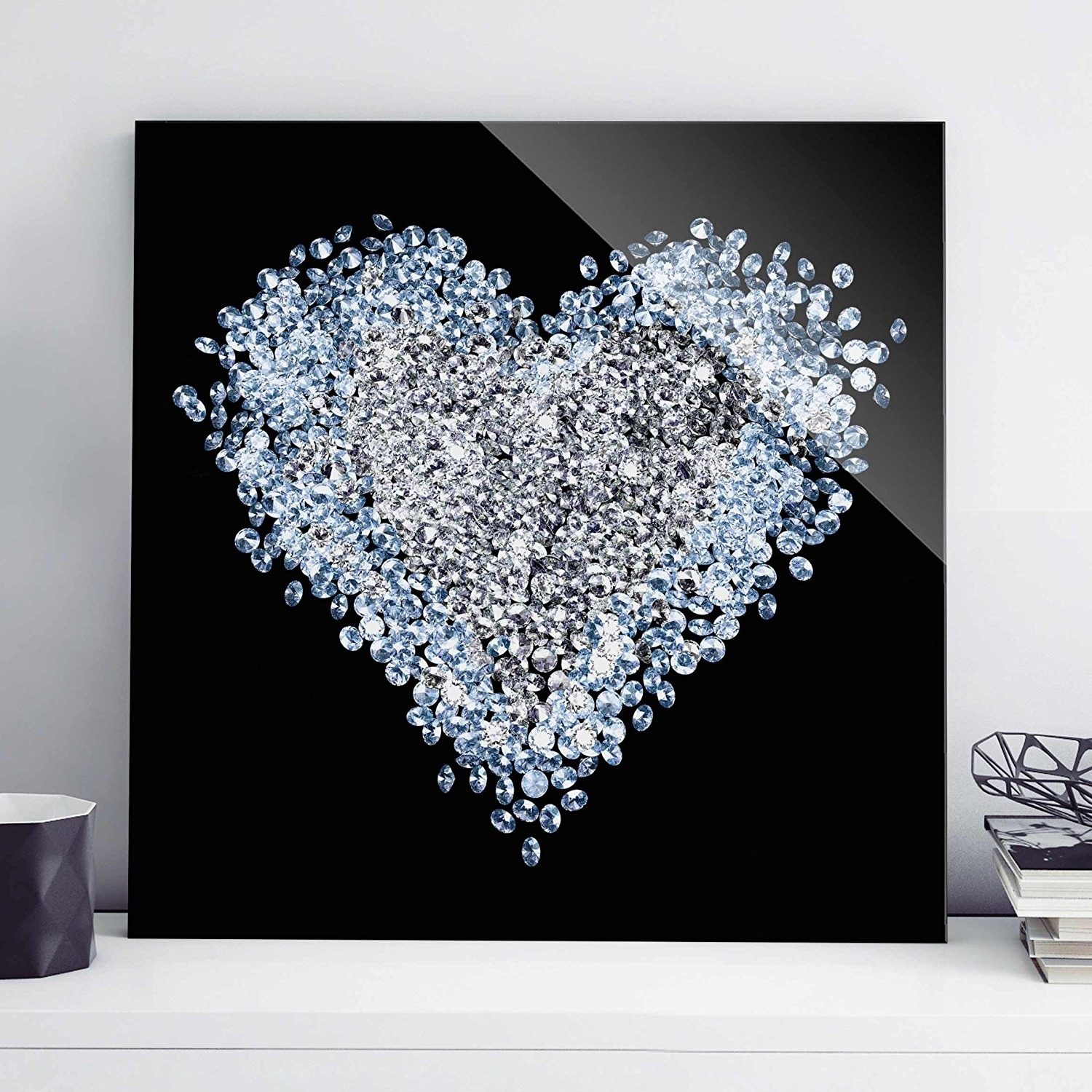 Glitter Canvas Wall Art With Regard To Popular Print On Glass Wall Art – Diamond Heart – Square 1:1, Print On (View 6 of 15)