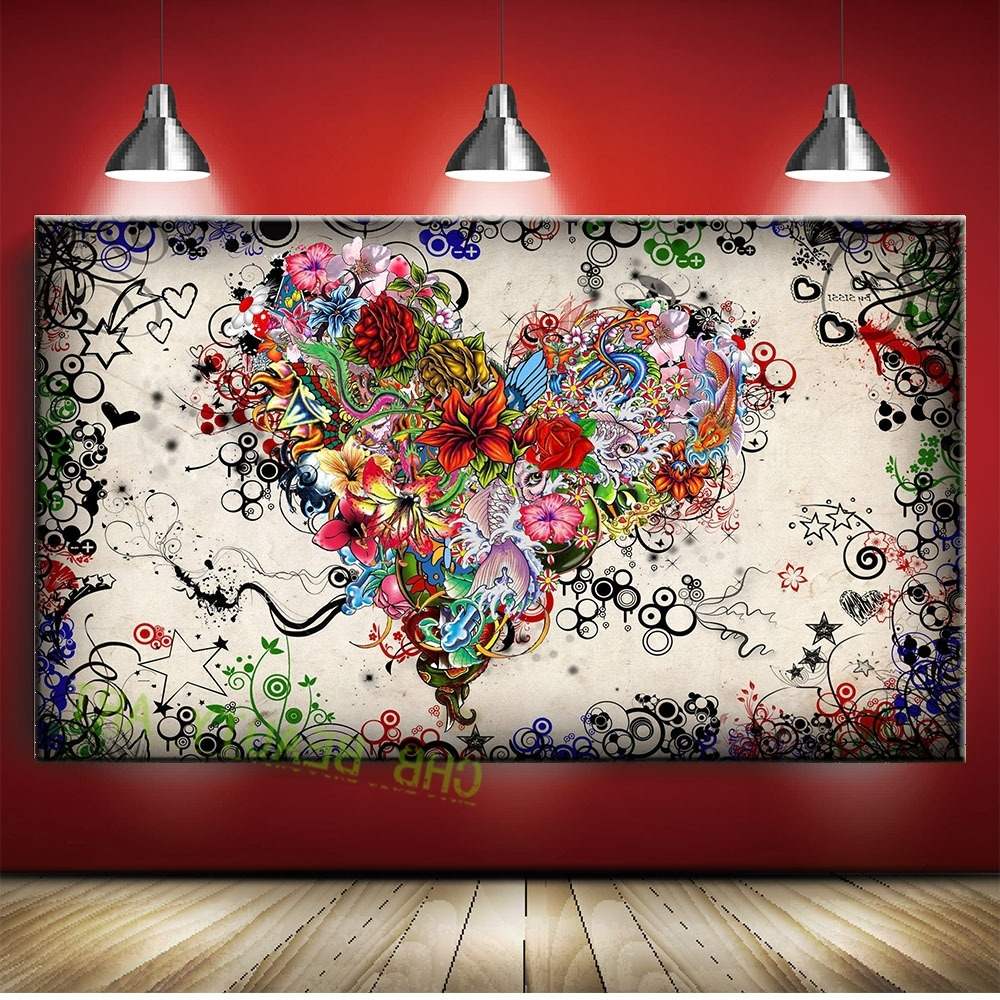 Graffiti Design Abstract Wall Art Heart Flowers Canvas Prints Intended For Most Current Hearts Canvas Wall Art (Gallery 1 of 15)