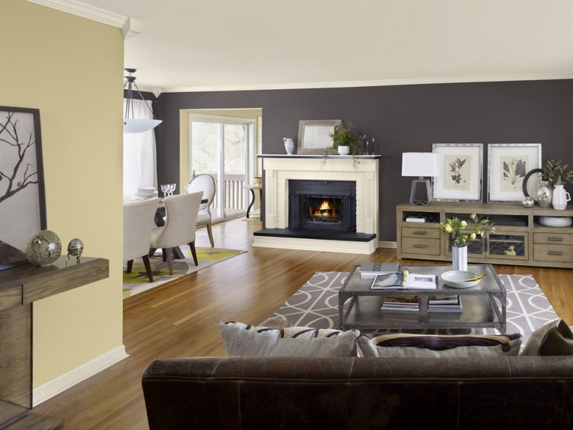 Great Room Paint Colors Light Color With Dark Brown Accent Walls For Newest Neutral Color Wall Accents (View 6 of 15)