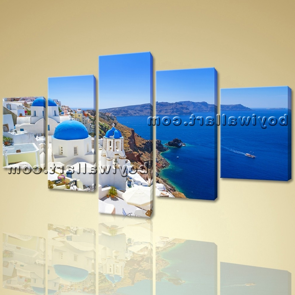 Greece Canvas Wall Art Pertaining To Most Recently Released Large Santorini Island Greece Landscape Photography Canvas Wall (View 9 of 15)