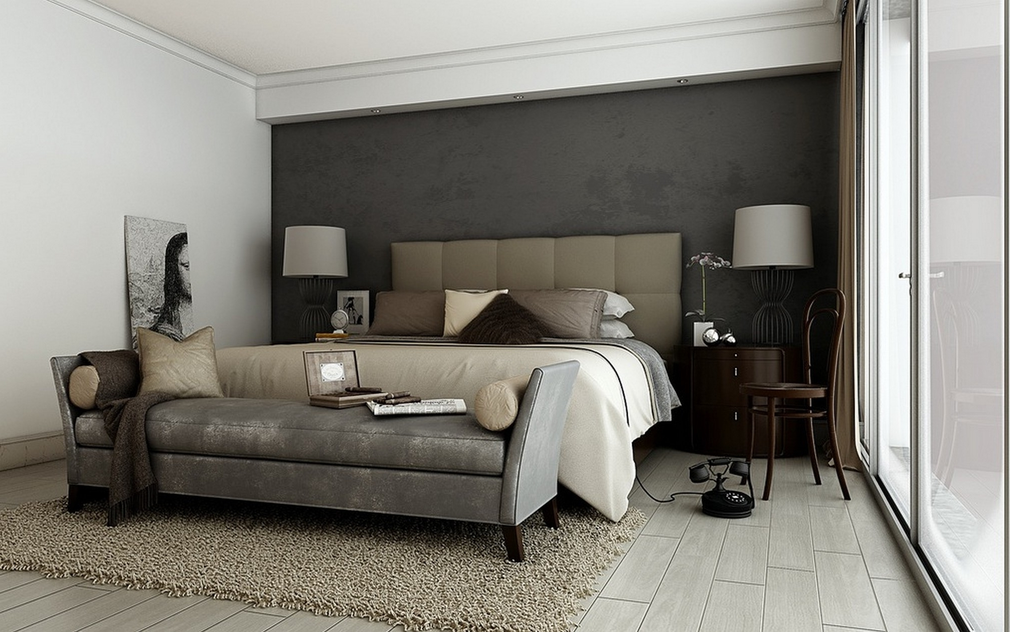 Grey Bedroom Walls With Color Accents (View 7 of 15)