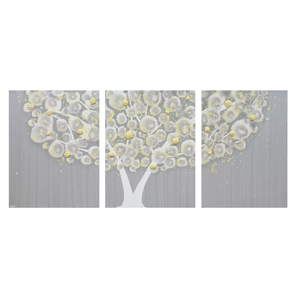 Grey Canvas Wall Art In Recent Wall Art Design Ideas: Three Separated Canvas Yellow And Grey Wall (Gallery 8 of 15)