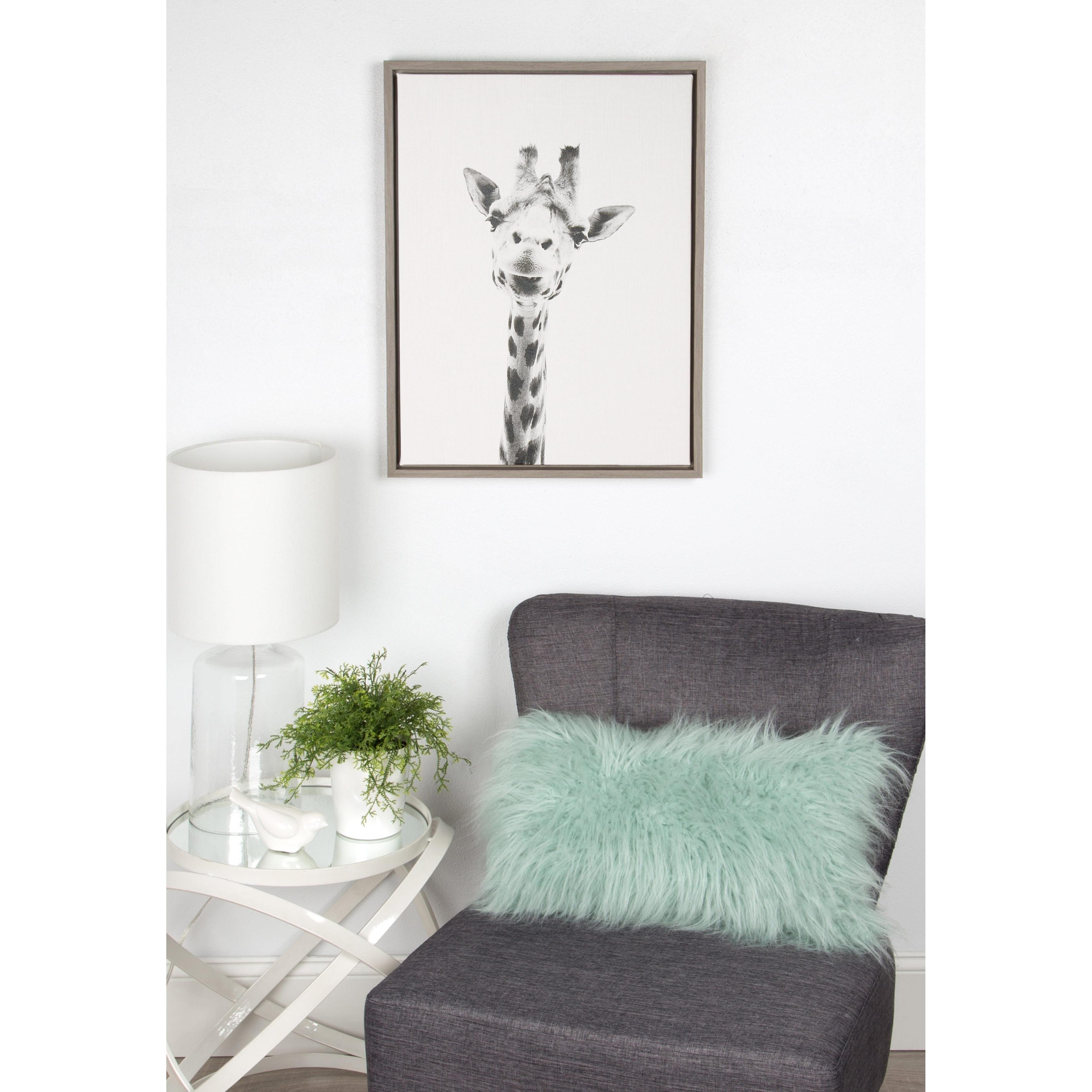 Grey Canvas Wall Art Throughout Well Known Designovation Simon Te Tai 'sylvie Giraffe' Black And White Grey (View 7 of 15)