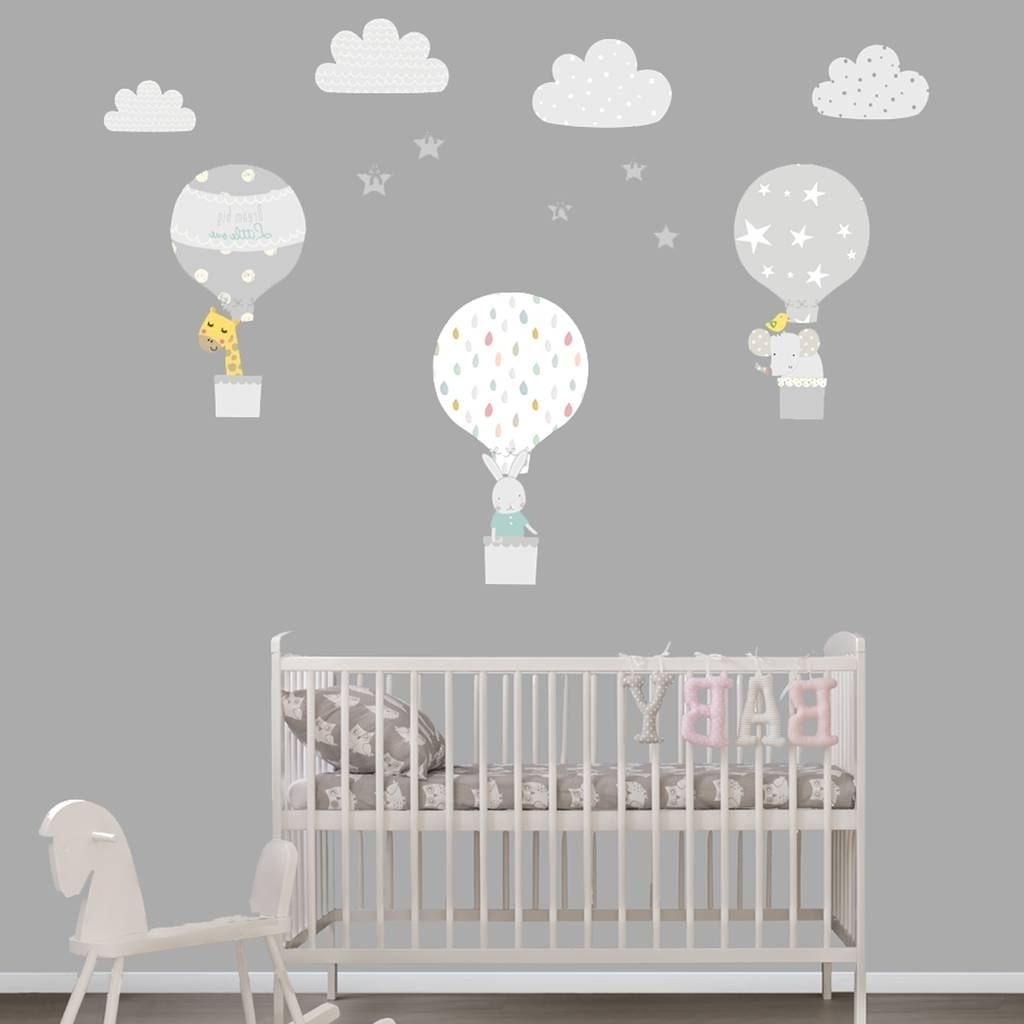 Grey Hot Air Balloon Fabric Wall Stickers Littleprints Inside Intended For Latest Fabric Wall Art For Nursery (Gallery 11 of 15)