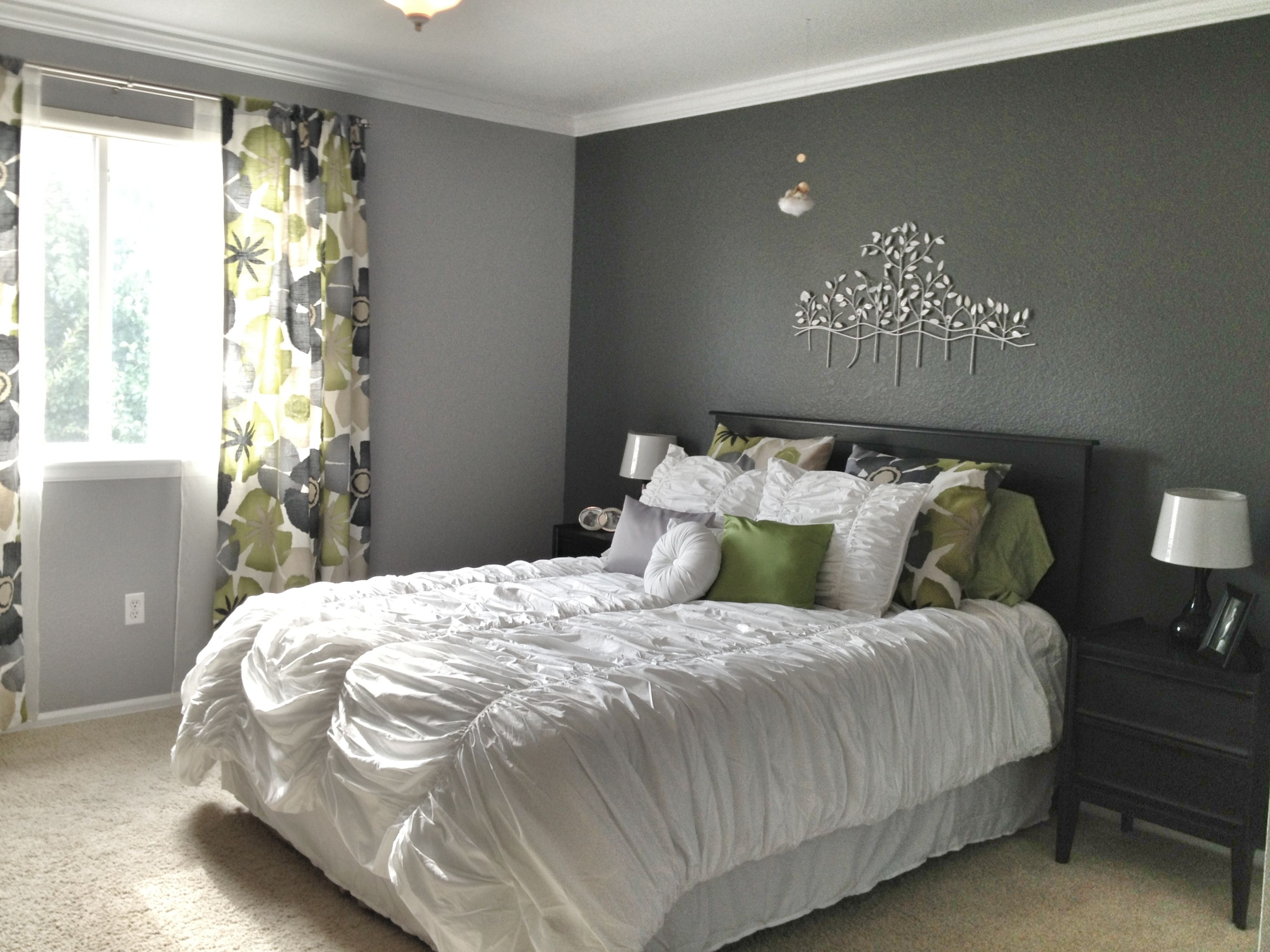 Grey Master Bedroom – Dark Accent Wall, Fun Patterned Curtains Within Most Popular Gray Wall Accents (View 6 of 15)