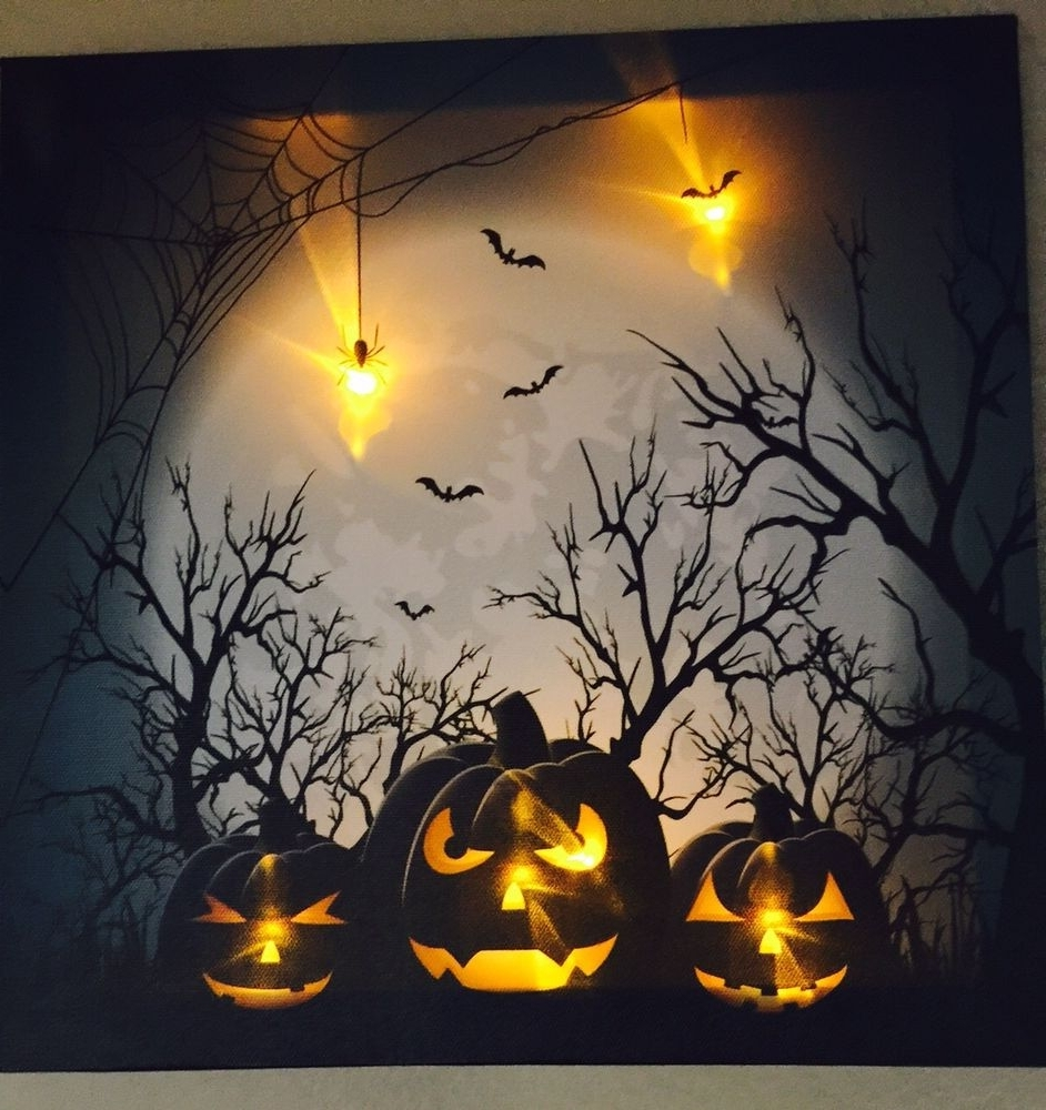 Halloween Led Canvas Wall Art With Most Current Lighted Led Canvas Wall Art – New (View 8 of 15)
