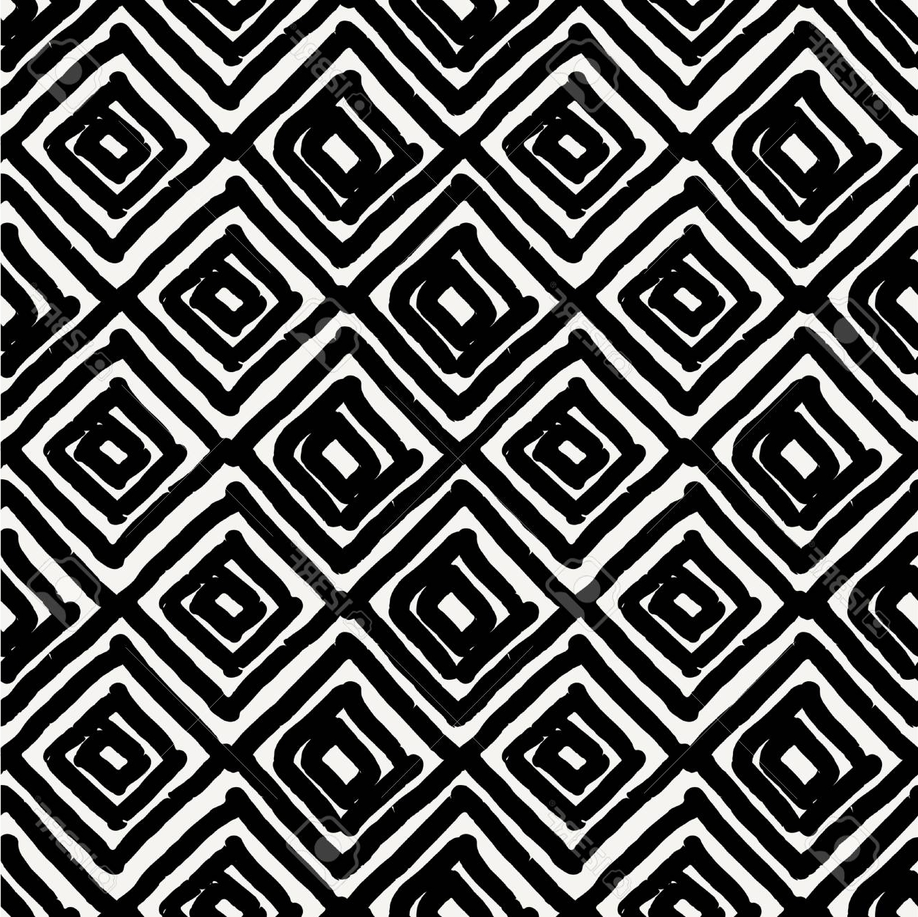 Hand Drawn Seamless Diamond Shapes Pattern In Black And Cream Pertaining To Current Modern Textile Wall Art (Gallery 15 of 15)
