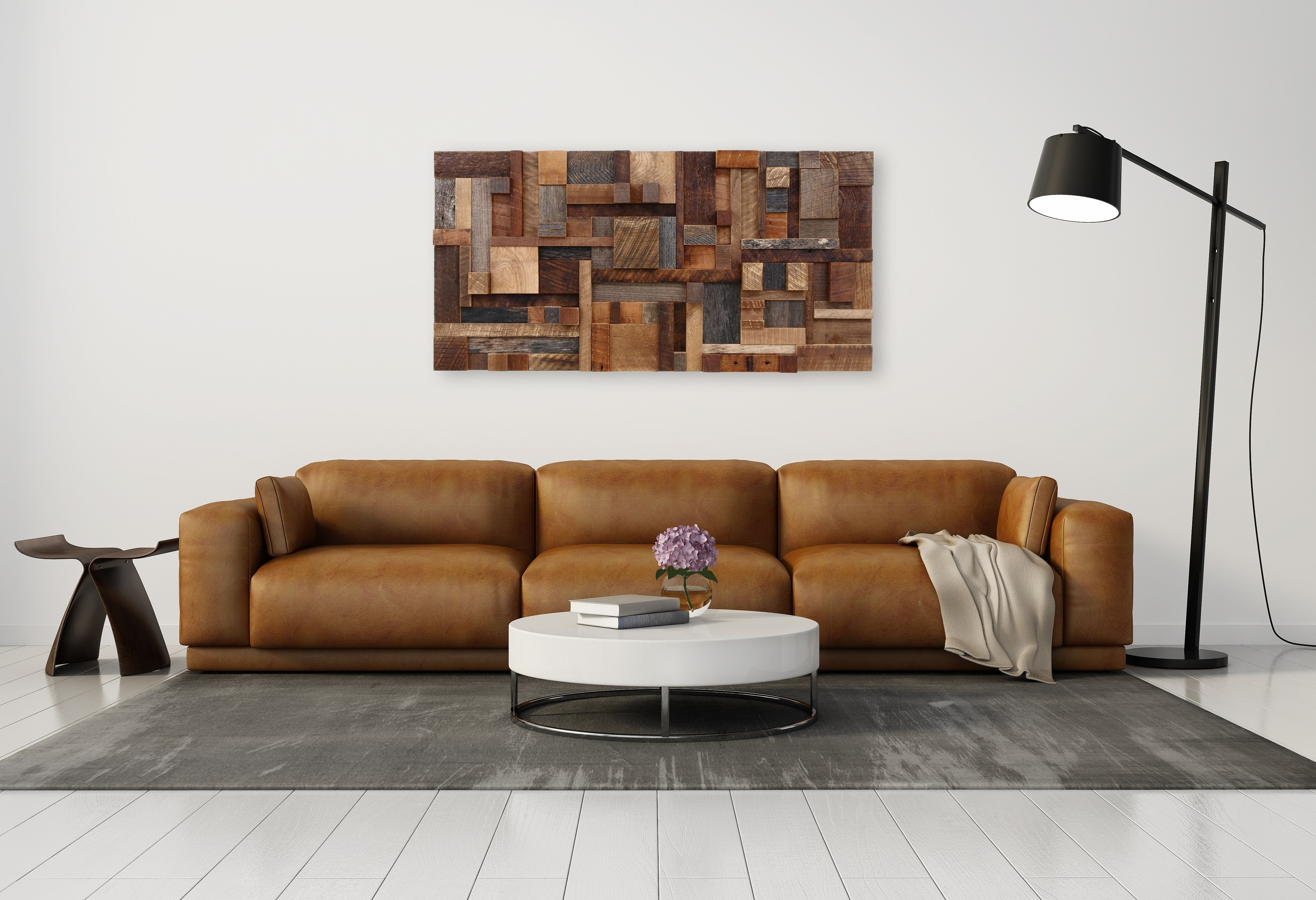 Hand Made Wood Wall Art Of Geometric Shapes, Made Of Reclaimed Within Well Known Geometric Shapes Wall Accents (View 9 of 15)