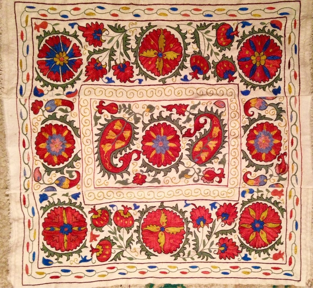 Handmade Textile Wall Art Inside Most Recent Uzbek/ Turkic / Turkish Suzani Fully Hand Made Emboidery And (View 12 of 15)