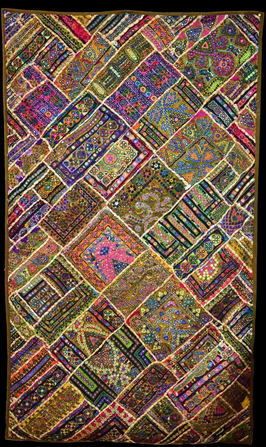 Handmade Textile Wall Art With Famous Embroidered Sindhi Patchwork Decorative Wall Decor,unique Decor (Gallery 4 of 15)
