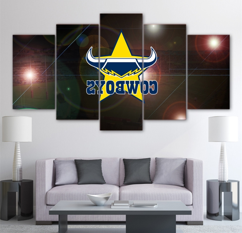 Hd Printed 5 Piece Home Decor Wall Art Painting Nrl Cowboys In Popular Queensland Canvas Wall Art (Gallery 2 of 15)