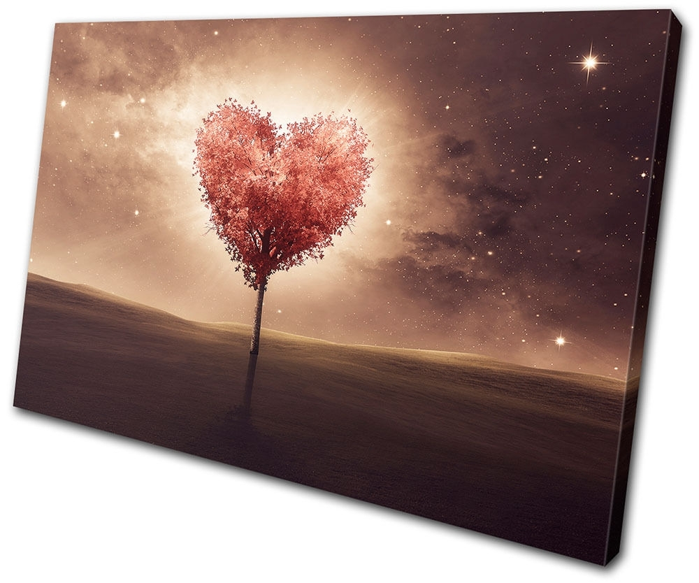 Hearts Canvas Wall Art For Trendy Heart Bedroom Romantic Night Love Single Canvas Wall Art Picture (View 5 of 15)