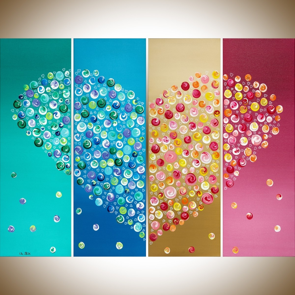 "Hearts Canvas Wall Art In Widely Used 365 Days Of Loveqiqigallery 40"" X 30"" Colorful Abstract Heart (View 6 of 15)"