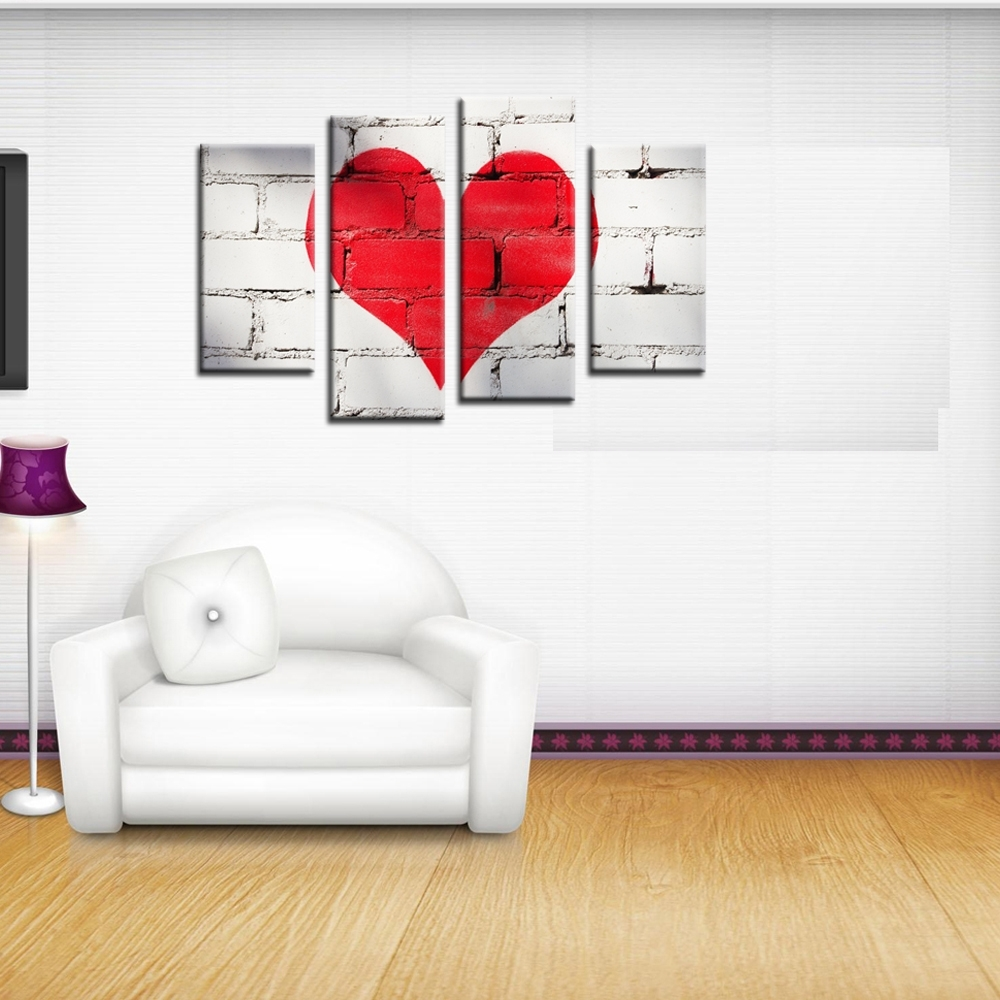 Hearts Canvas Wall Art Throughout Newest 4 Piece Canvas Art Modern Paintingnumbers Red Love Heart (View 7 of 15)