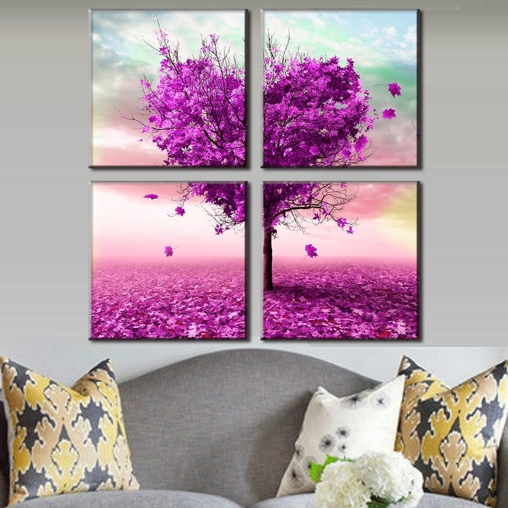 Hearts Canvas Wall Art With Regard To Most Current 4 Pcs/set Artist Canvas Prints Heart Shaped Purple Maple Wall (View 8 of 15)