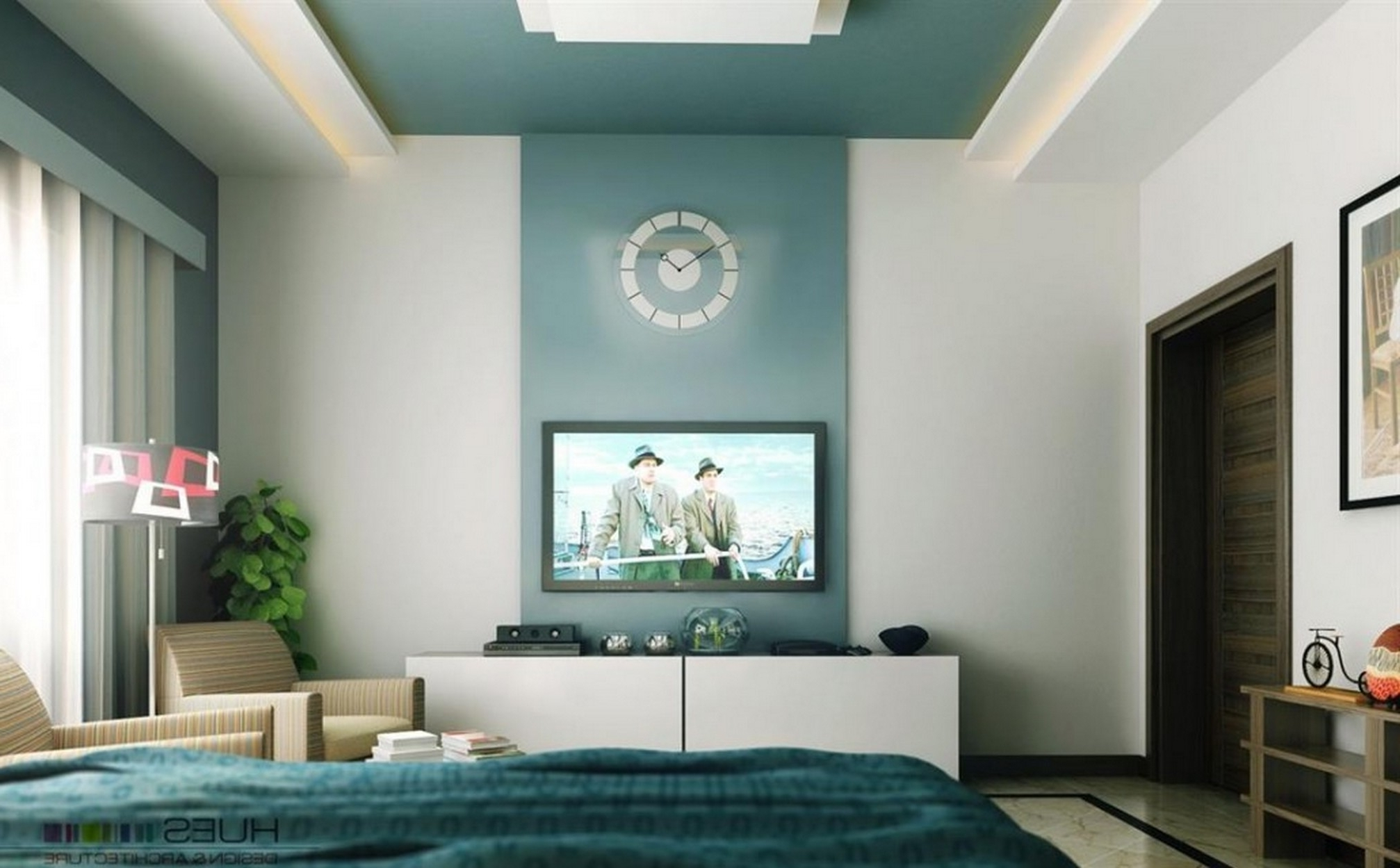 High Ceiling Wall Accents Regarding Trendy Accent Wall Color For High Walls With Round Clock Ideas And Tv On (View 6 of 15)