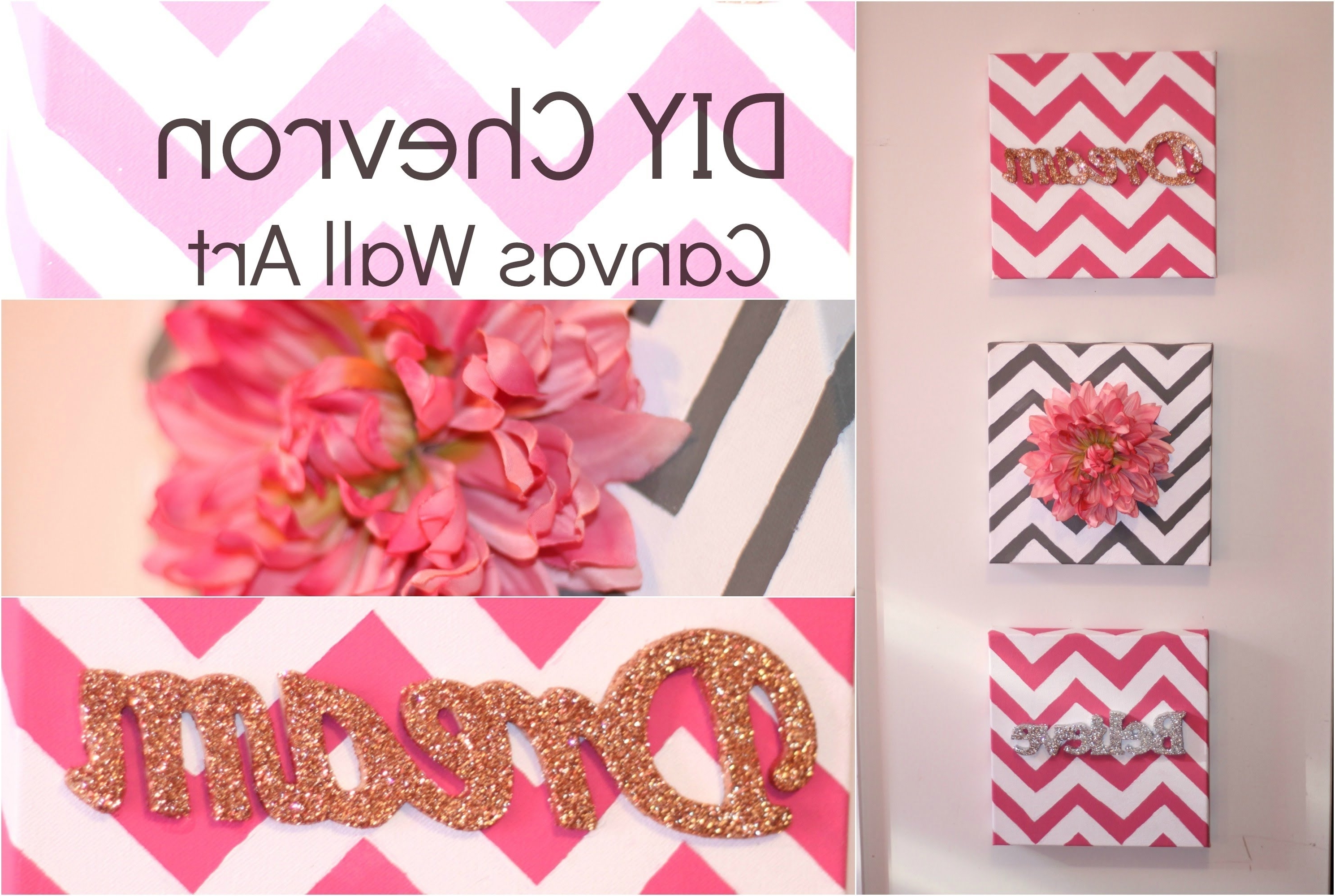 Homemade Canvas Wall Art Throughout Newest Diy Chevron Canvas Wall Art – Youtube (Gallery 1 of 15)