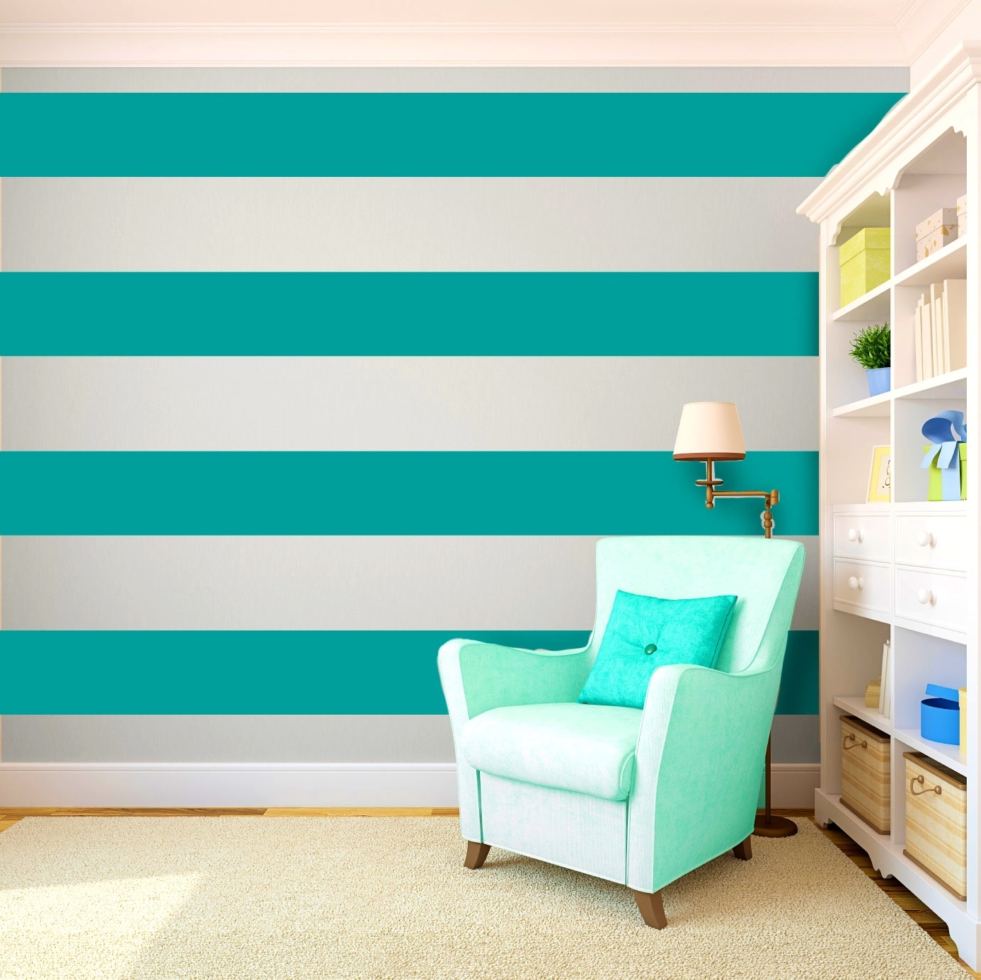 Horizontal Stripes Wall Accents In Trendy Bathroomappealing Cool Painting Ideas That Turn Walls And Ceilings (View 9 of 15)