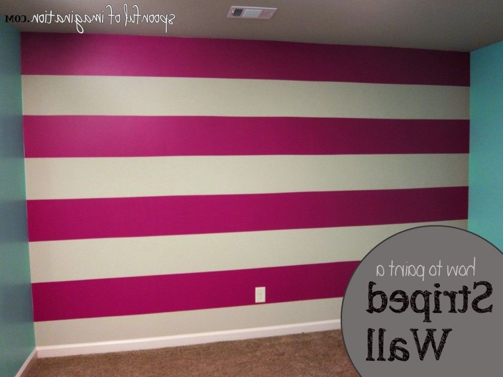 Horizontal Stripes Wall Accents Intended For Latest How To Paint A Striped Wall Love This Idea For The Bedroom! Of (View 6 of 15)