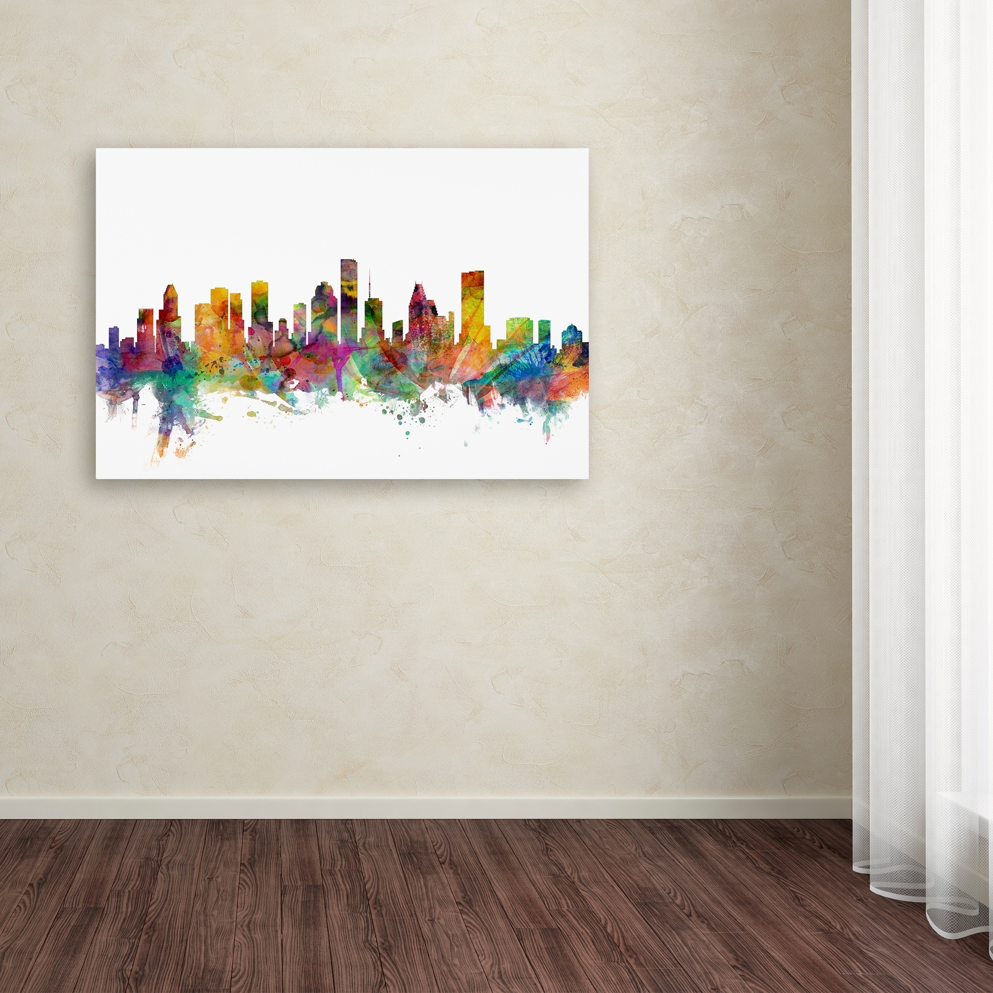 Houston Canvas Wall Art Regarding Most Popular Michael Tompsett 'houston Texas Skyline' Canvas Wall Art – Free (View 9 of 15)