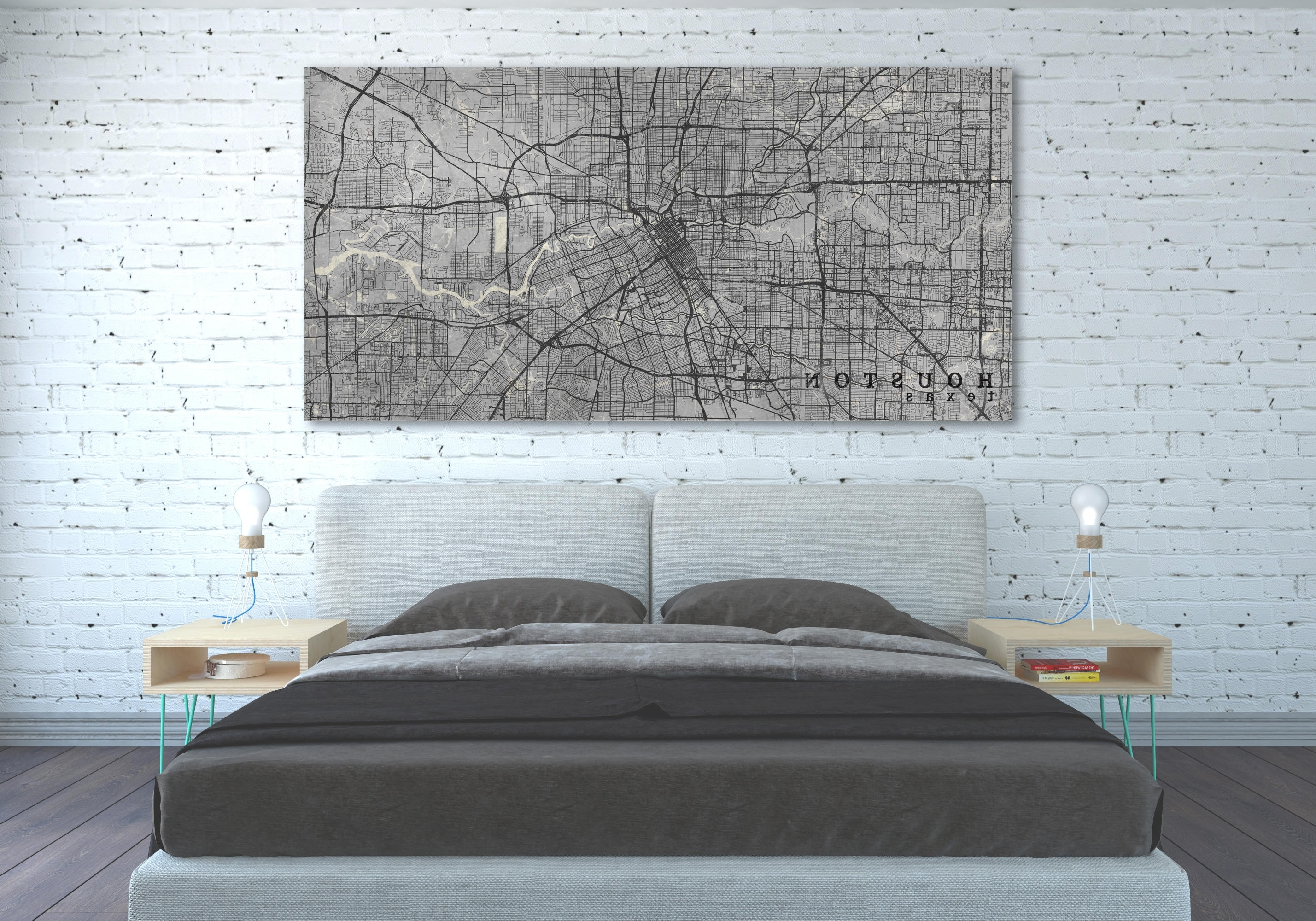 Houston Tx Canvas Print Houston Texas Tx Vintage Map City Poster Throughout Recent Houston Canvas Wall Art (View 10 of 15)