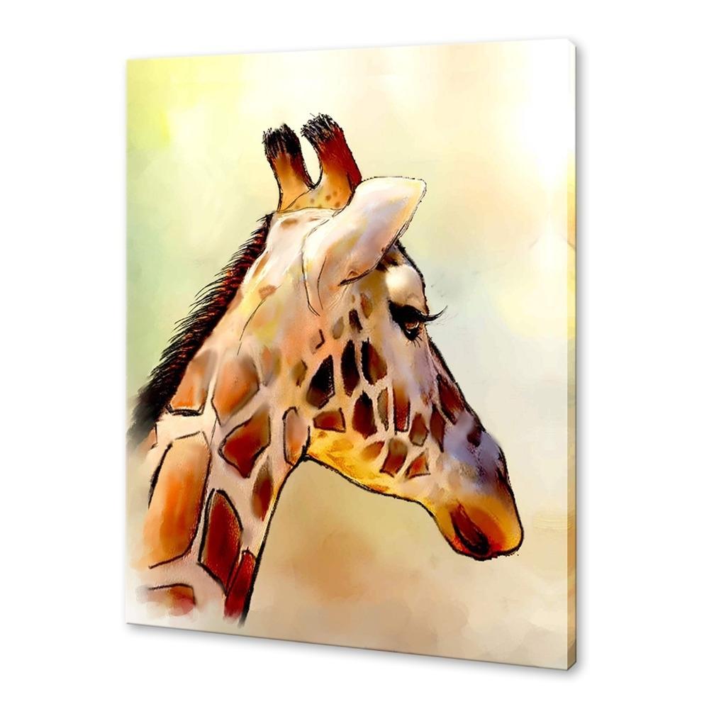 Iarts Modern Wall Art Print + Hand Painted Beautiful Giraffe Throughout Most Recent Giraffe Canvas Wall Art (View 8 of 15)