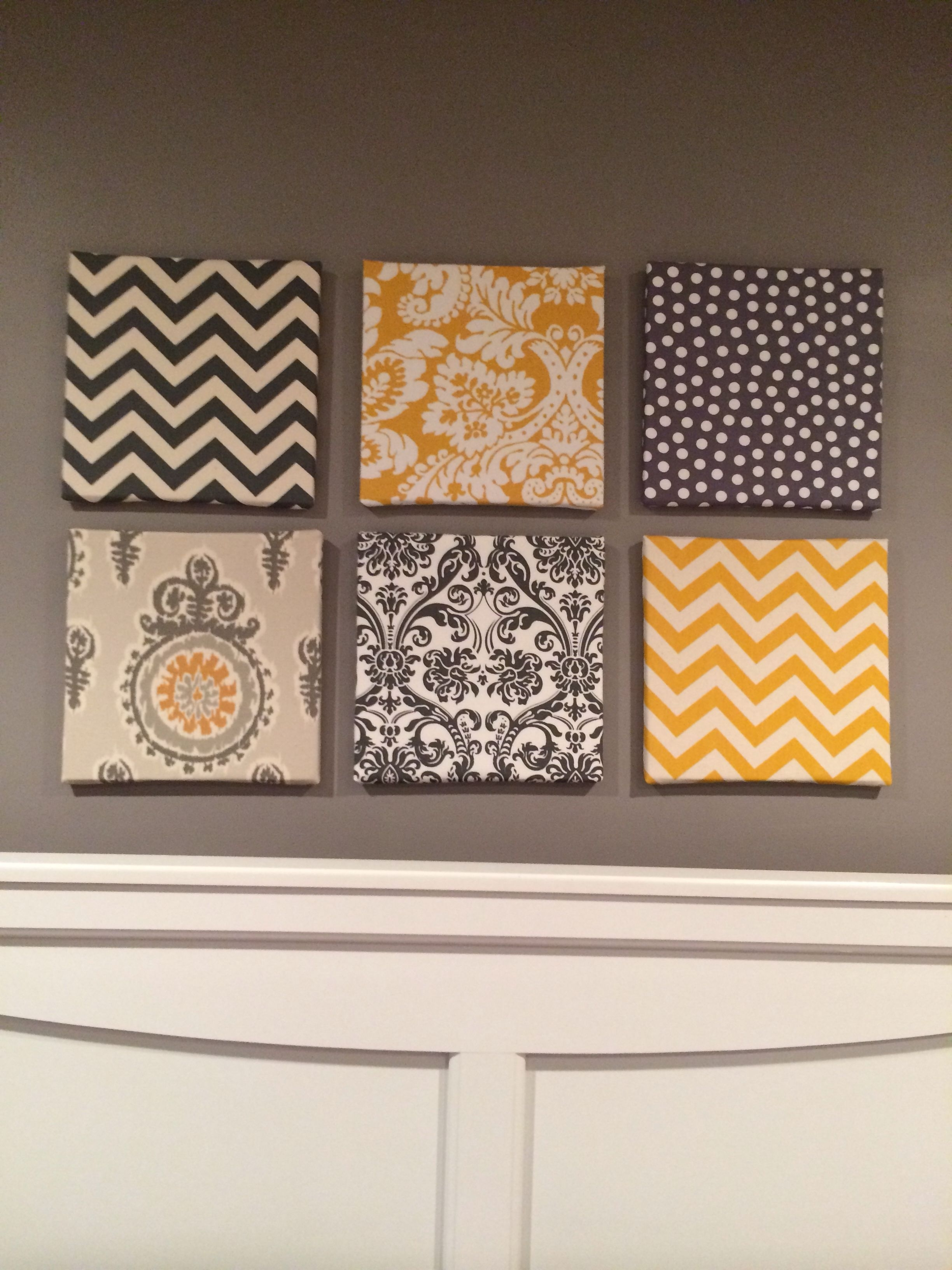 Ikat Fabric Wall Art Pertaining To Most Current My Fabric Over Canvas Wall Art For My Gray And Yellow Themed Room (View 11 of 15)