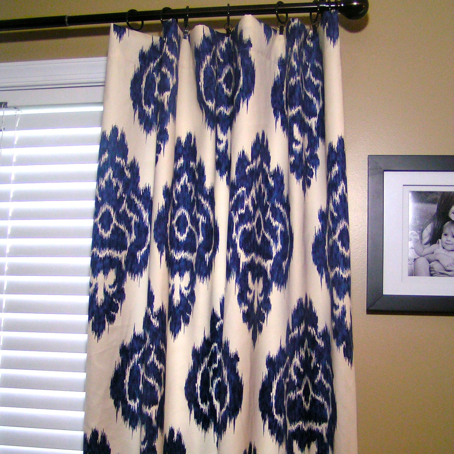 Ikat Fabric Wall Art With Famous Decor: Contrasting Fabric Borders Ikat Curtains With Blinds And (View 10 of 15)