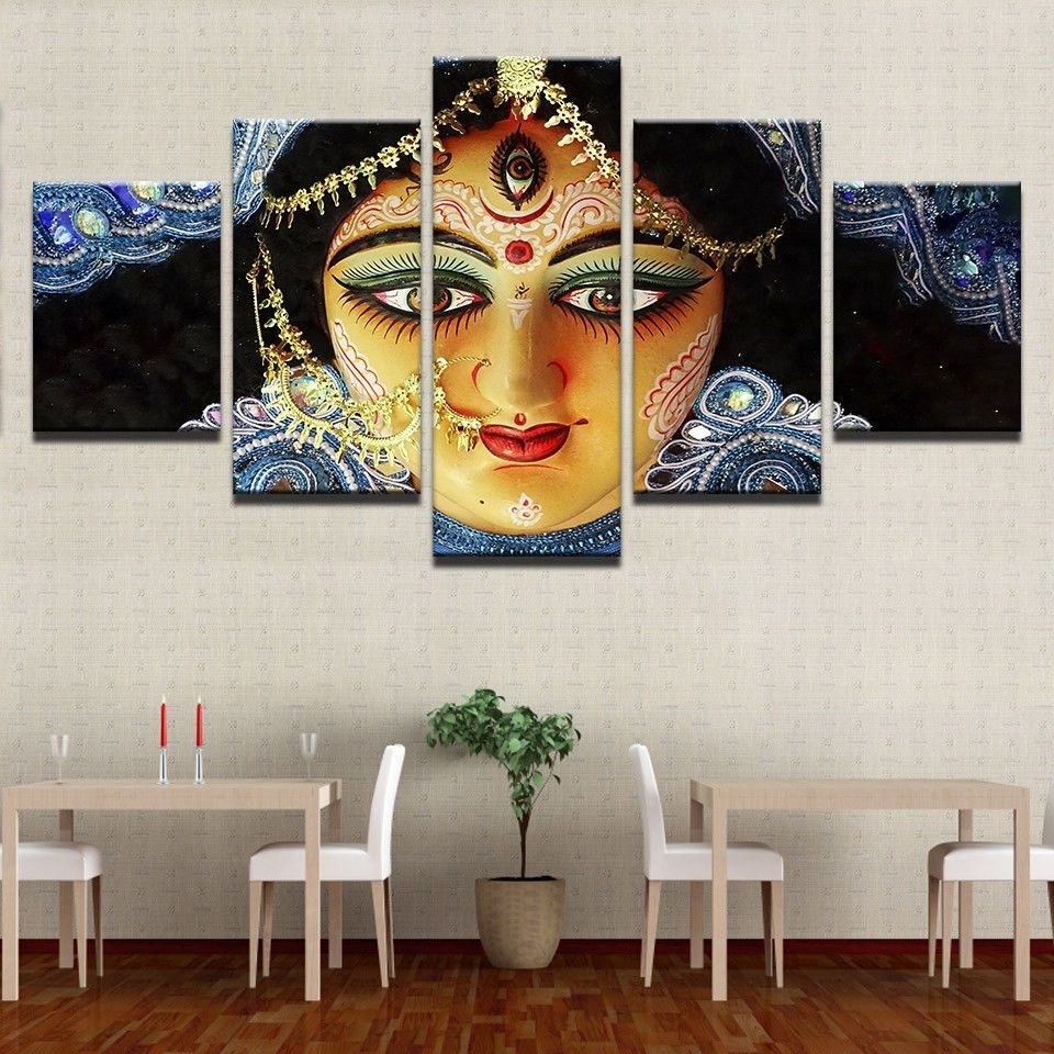 India Canvas Wall Art Inside Recent India Goddess Durga Paintings Poster Modern Picture Canvas Wall (View 7 of 15)