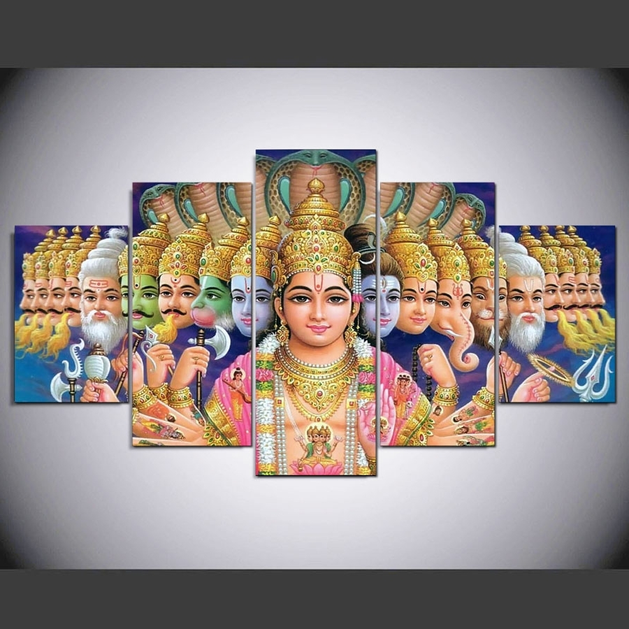 India Canvas Wall Art Pertaining To 2017 Hd Print 5 Pcs Canvas Wall Art Mythology Shiva Vishnu Painting (View 8 of 15)
