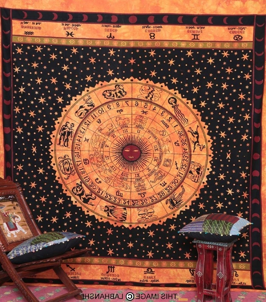 Indian Fabric Art Wall Hangings With Regard To 2017 Astrology Tapestry Zodiac Indian Wall Hanging Orange Bedspread (View 7 of 15)