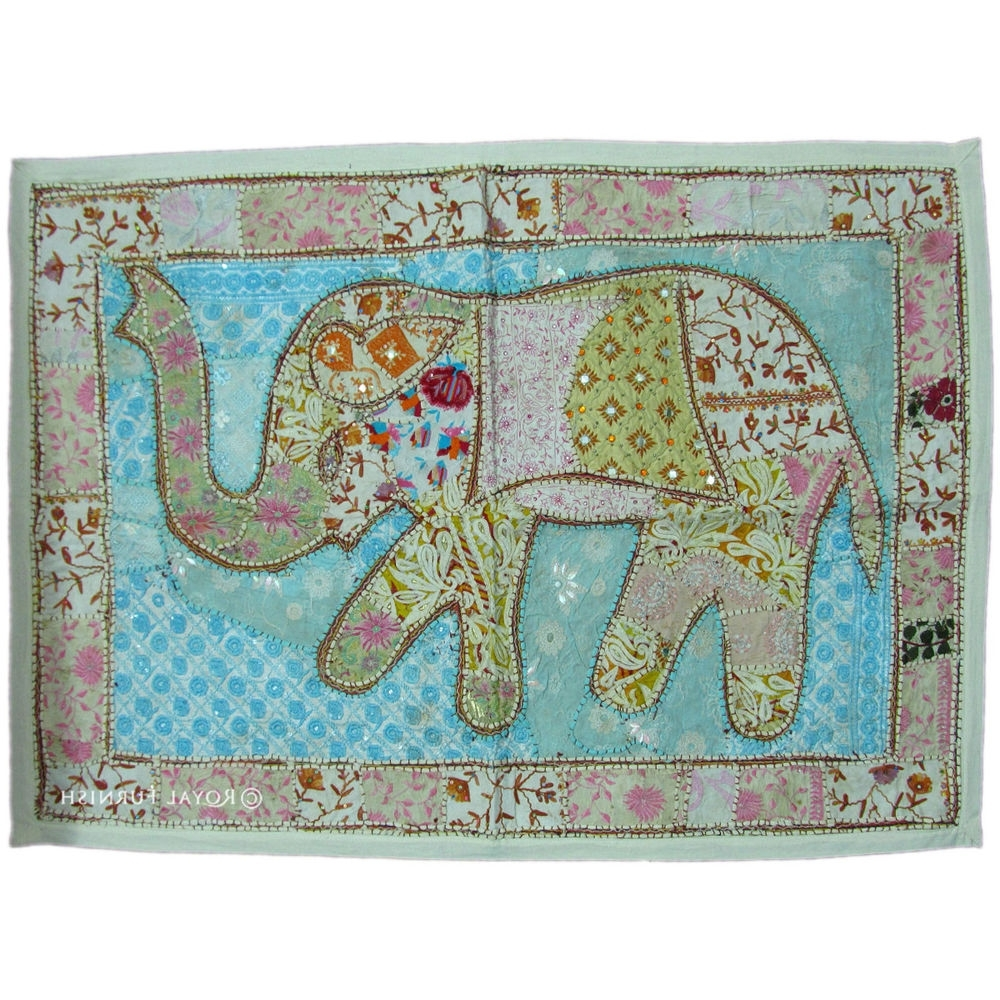 "Indian Fabric Art Wall Hangings With Regard To 2018 45"" White Indian Handmade Elephant Patchwork Wall Hanging Tapestry (View 8 of 15)"
