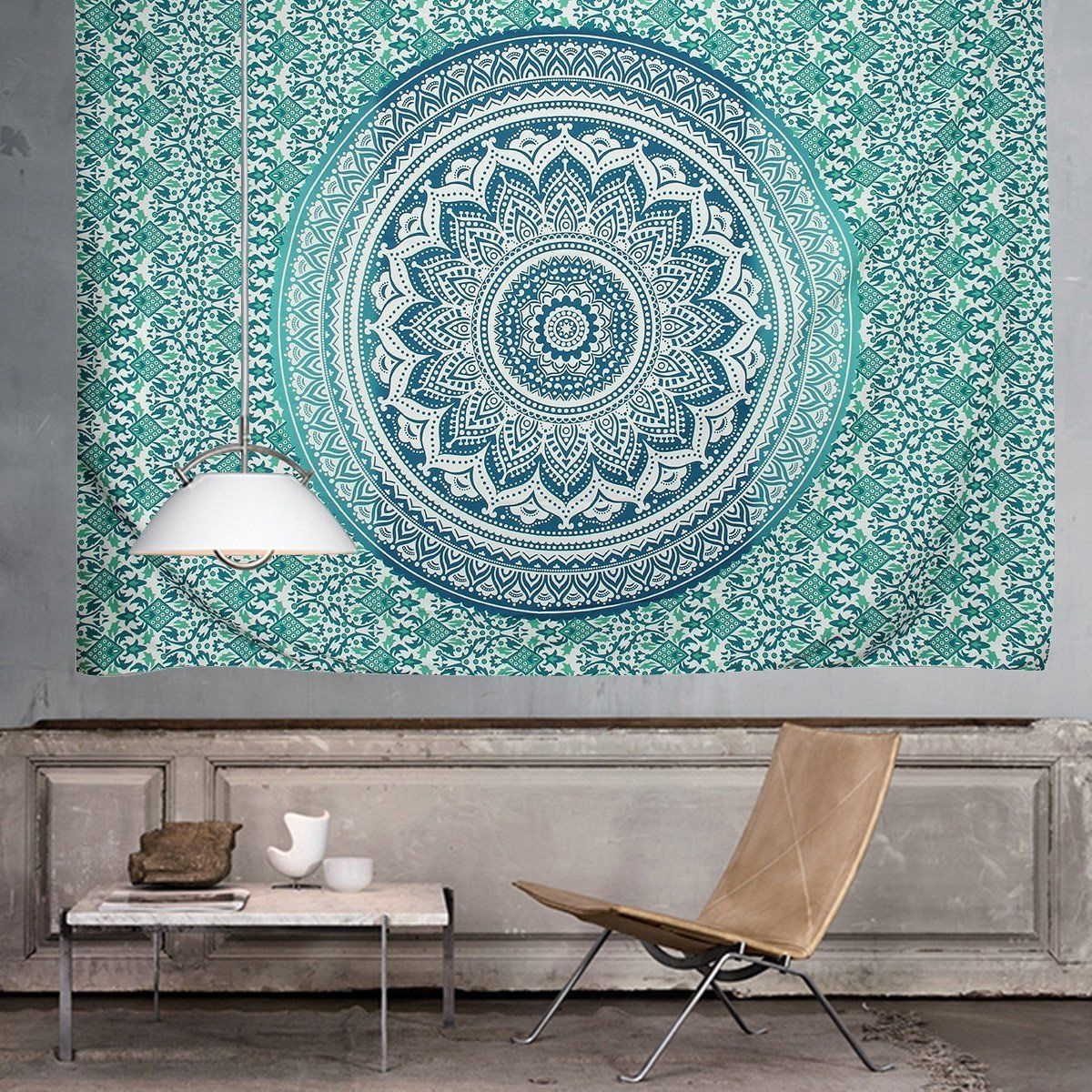 Indian Fabric Wall Art Regarding Fashionable Ombre Indian Wall Hanging Hippie Mandala Tapestry Bohemian (View 11 of 15)