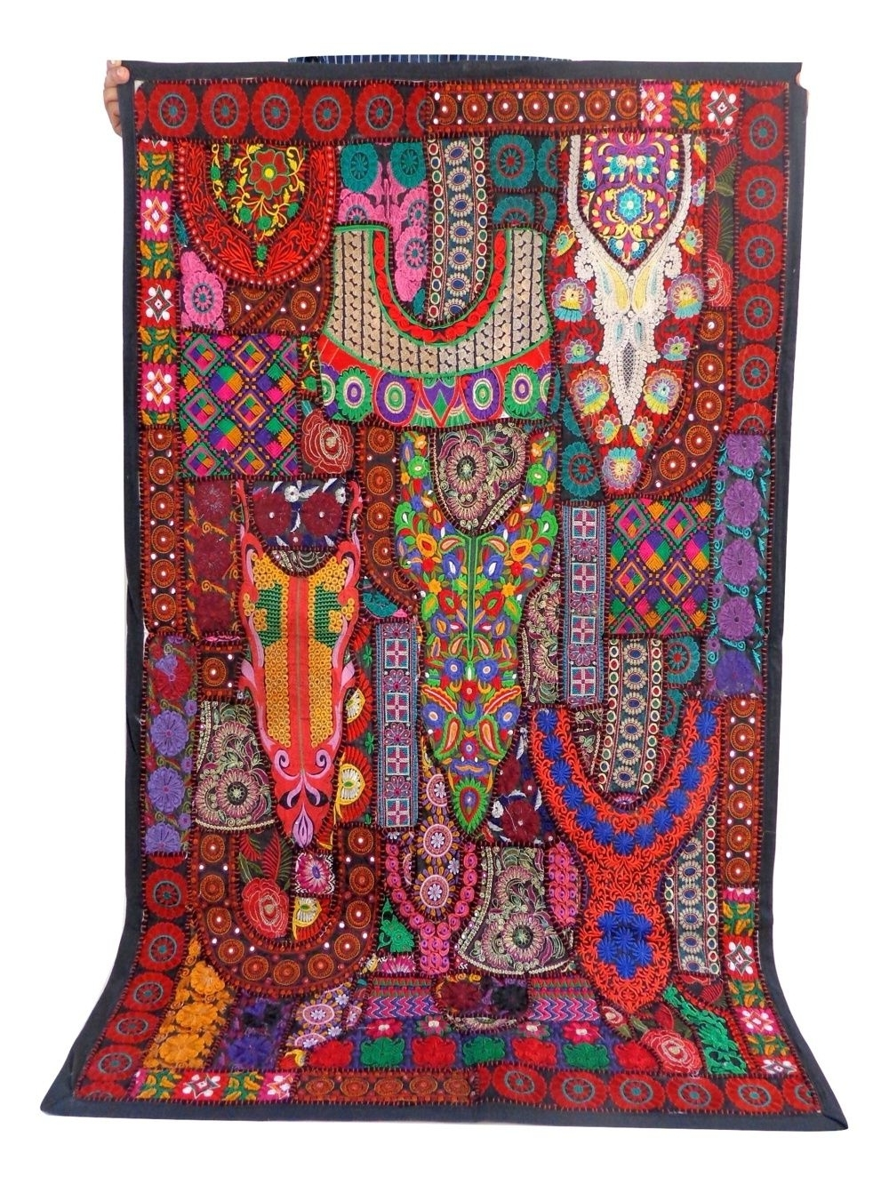 Indian Fabric Wall Art Within 2017 Designer Vintage Embroidered Patchwork Tapestry – Boho Hippie Wall (View 4 of 15)