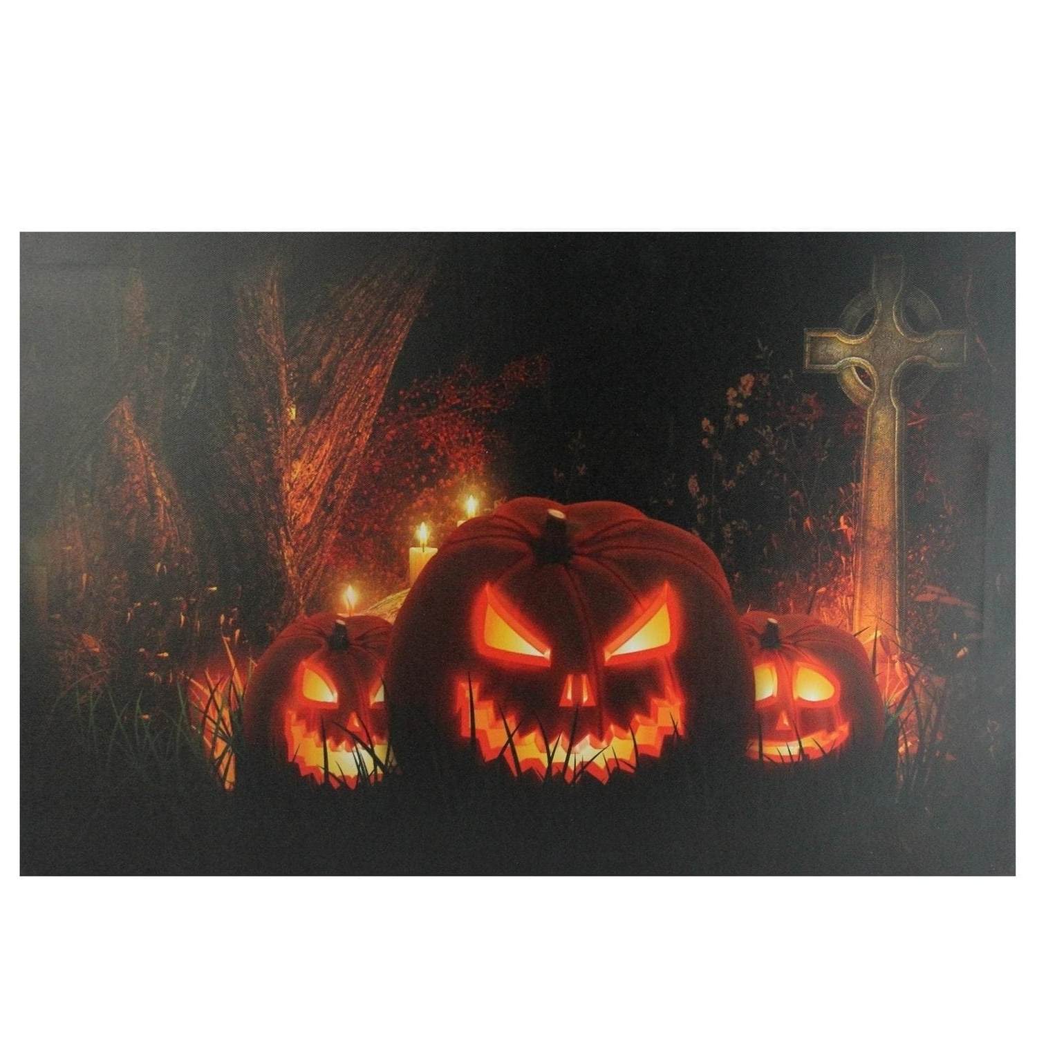 Jack O Lanterns In A Cemetery Halloween Led Lighted Canvas Wall With Most Recently Released Halloween Led Canvas Wall Art (View 9 of 15)