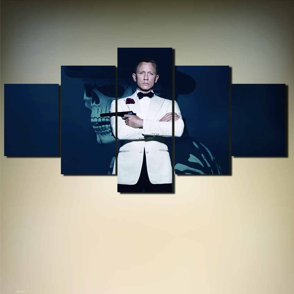 James Bond Canvas Wall Art Within Best And Newest Unframed 5 Pieces Movie 007 James Bond Posters Canvas Print, James (View 7 of 15)
